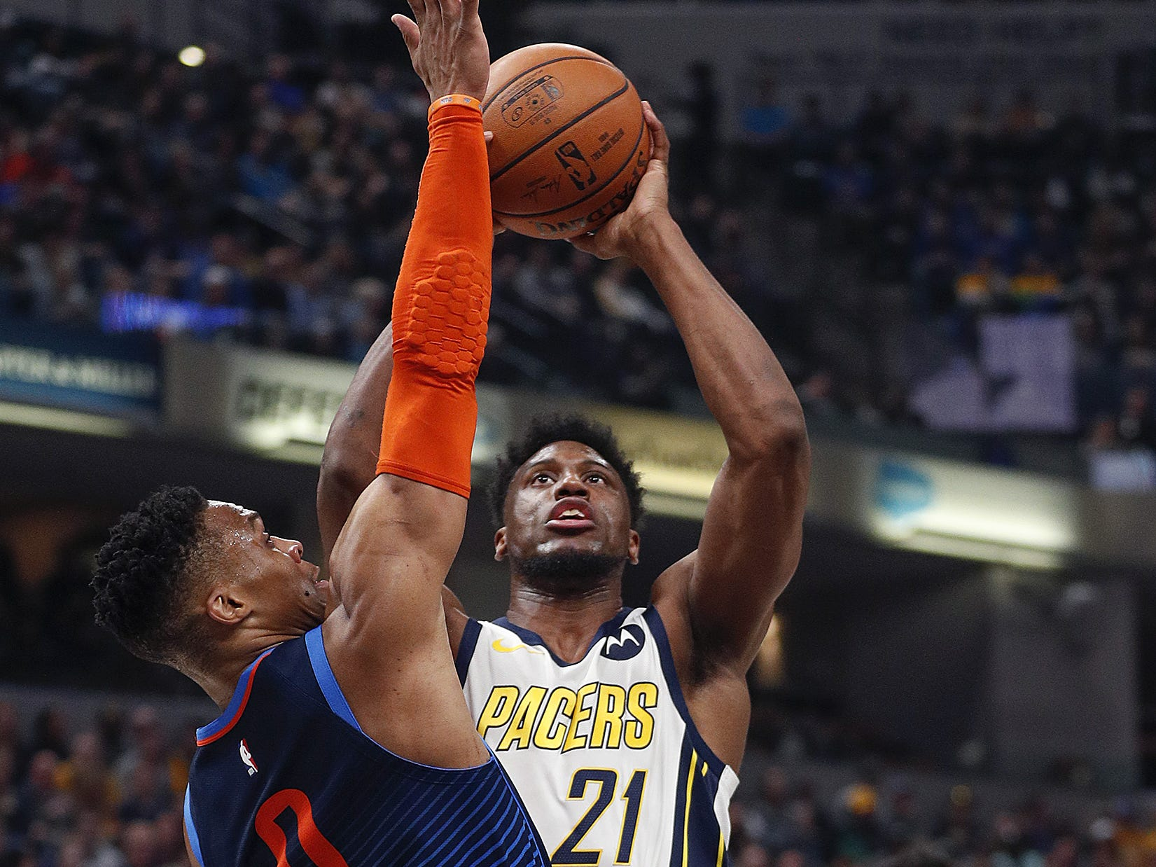 in the first half of their game at Bankers Life Fieldhouse on Thursday, Mar. 14, 2019.
