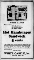 A White Castle ad for its newest location (at the time) in a 1927 edition of The Indianapolis Star.