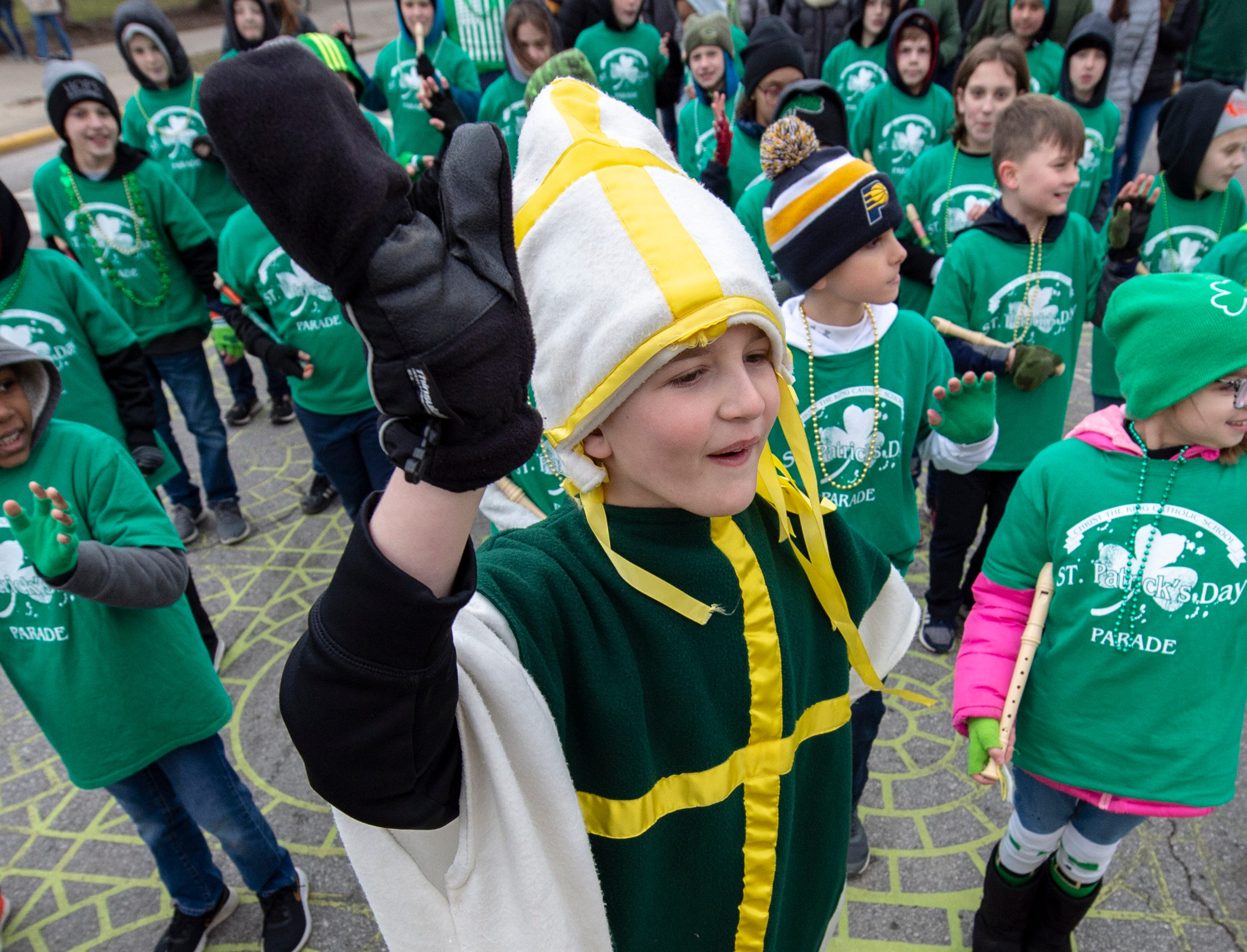 Declain McAllister, 10, portrays St. Patrick during the parade. The 39th annual St. Patrick's Day Parade navigated the streets of Indianapolis, Friday, March 15, 2019.