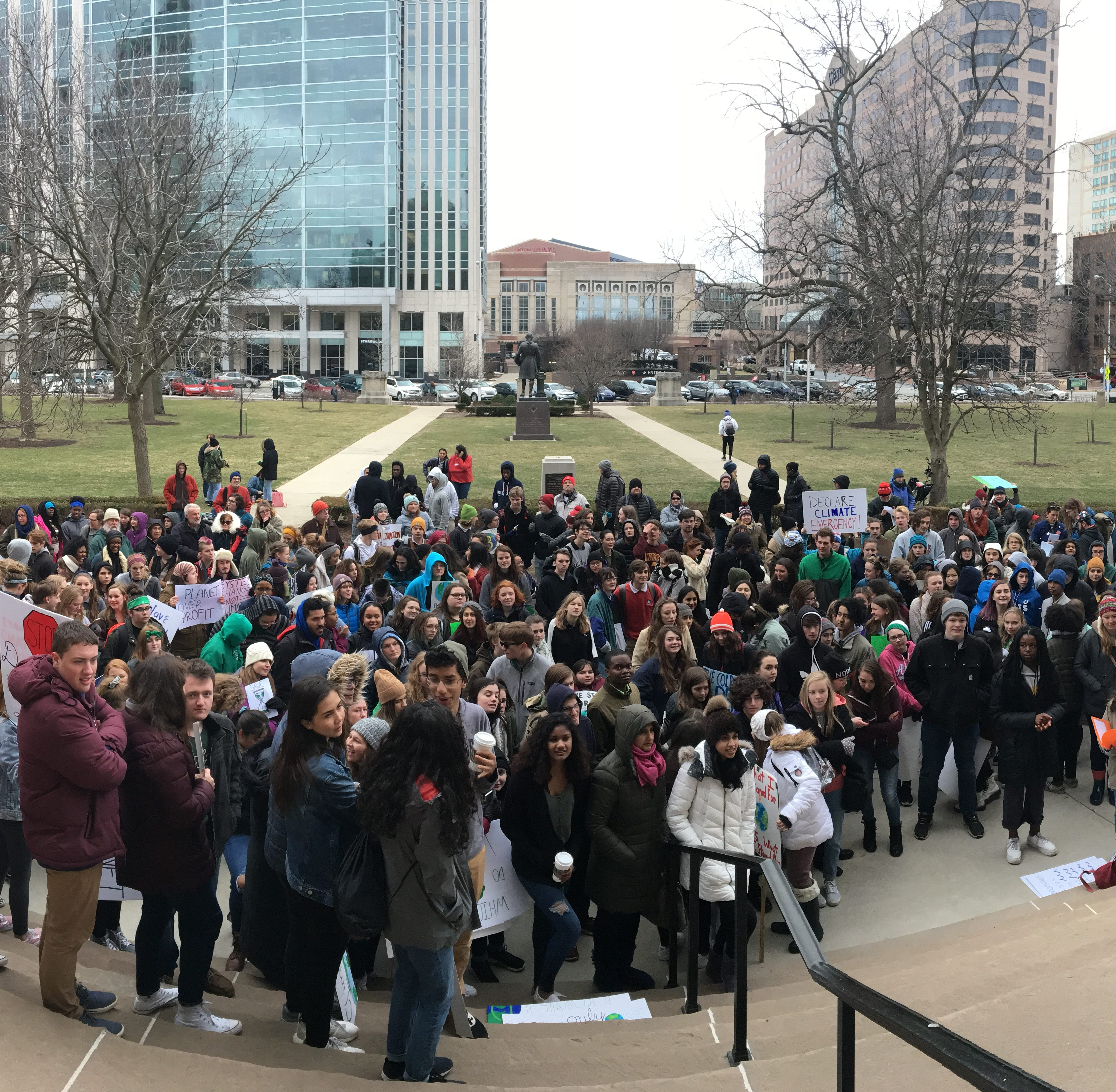 Students from across Indiana skipped school today to protest at the Statehouse