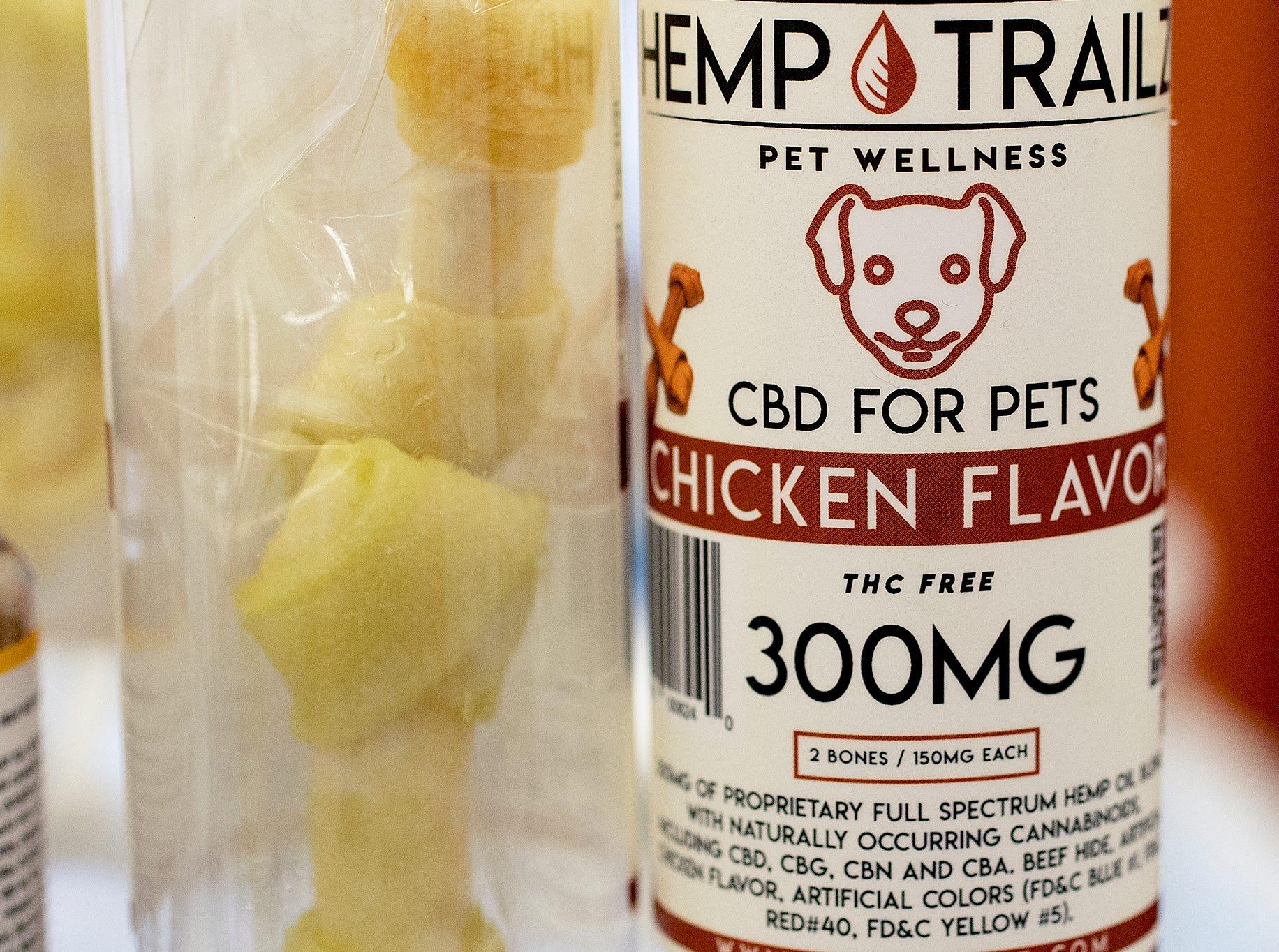 Hemp Trailz CBD calming dog treats at the CBD Expo at the Marriott East in Indianapolis on Friday, Mar. 15, 2019.