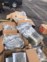 Indiana State Police seized 250 pounds of marijuana and 50,000 THC-filled vape cartridges during a traffic stop in Hendricks County.