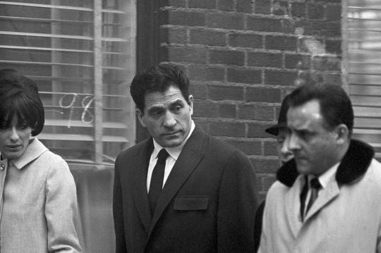 """John """"Sonny"""" Franzese leaves U.S. District Court at Albany, N.Y., Feb. 2, 1967, where he and four others are on trial on bank robbery charges."""