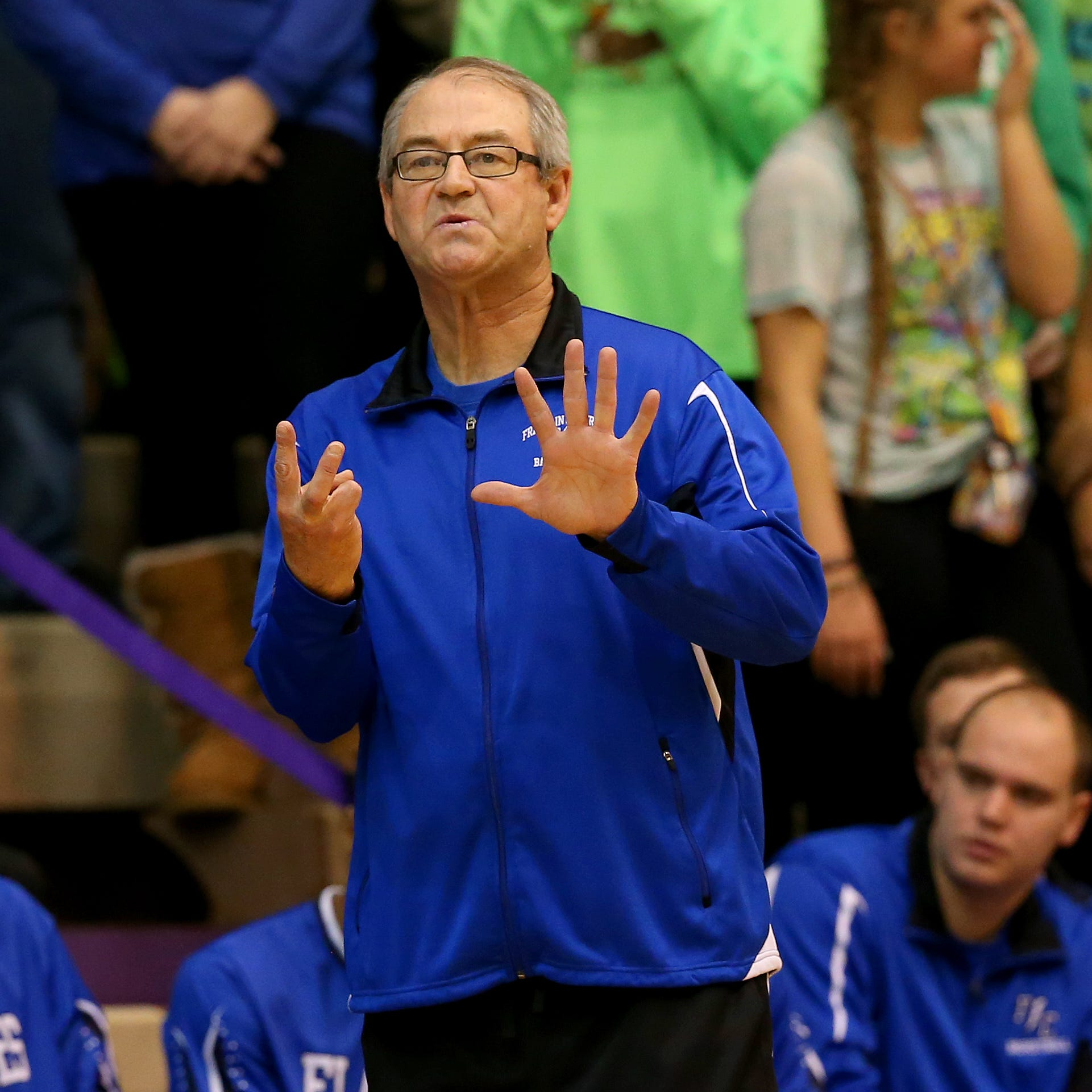 Franklin Central basketball coach John Rockey calls a play against Ben Davis on Nov. 25, 2015.