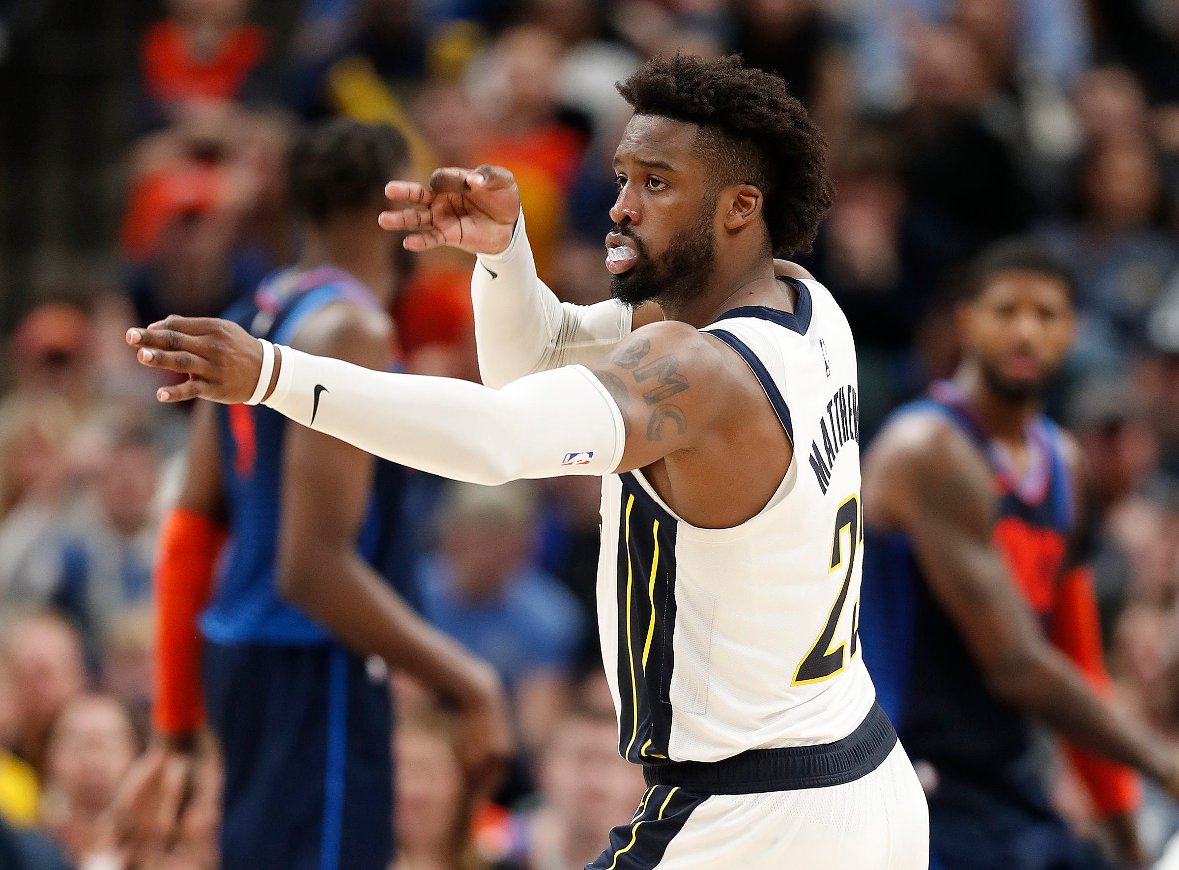Indiana Pacers guard Wesley Matthews (23) celebrates hitting a three-point shot in the second half of their game at Bankers Life Fieldhouse on Thursday, Mar. 14, 2019. The Pacers defeated the Thunder 108-106.