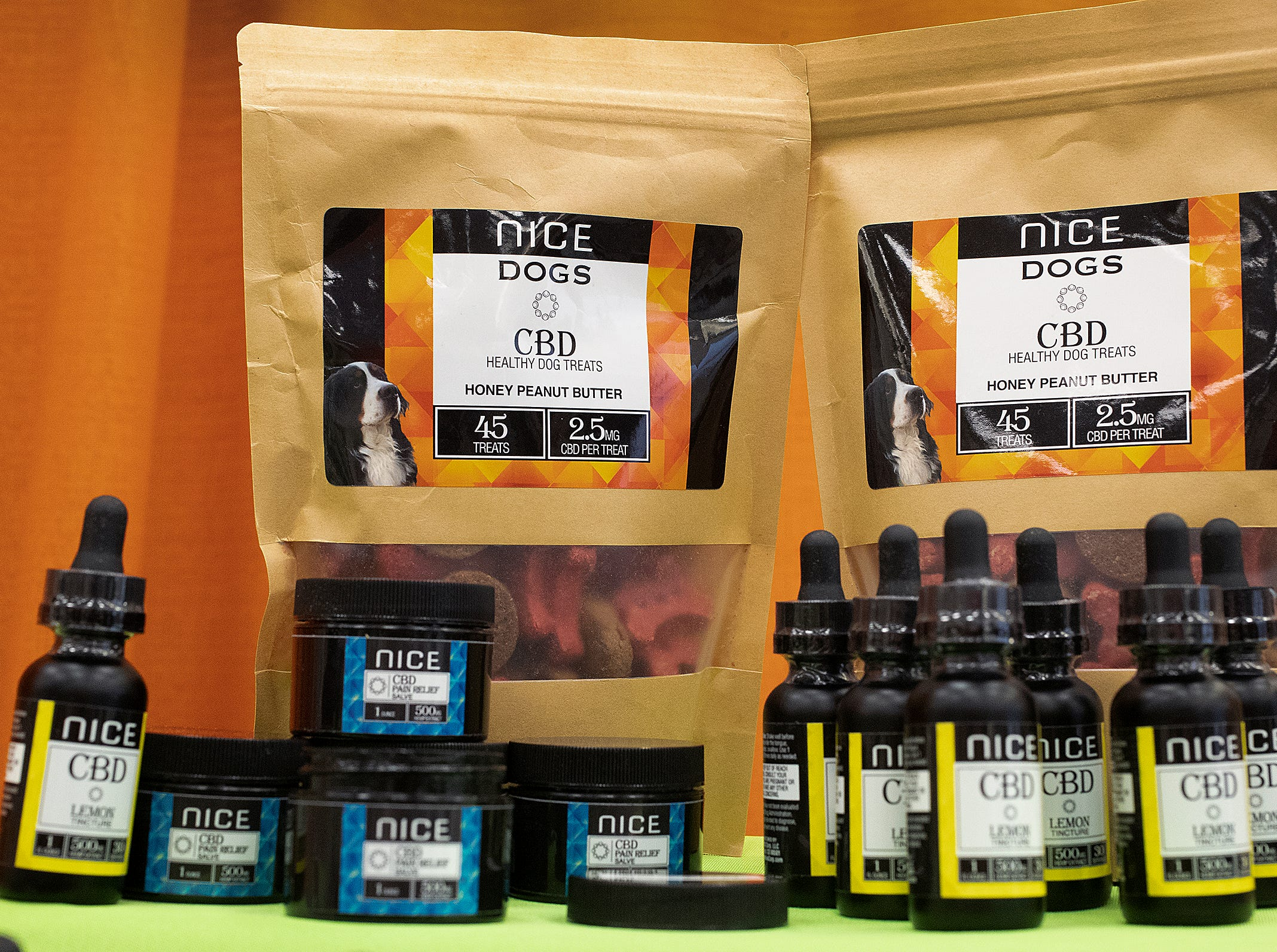 Nice CBD dog treats at the CBD Expo at the Marriott East in Indianapolis on Friday, Mar. 15, 2019.