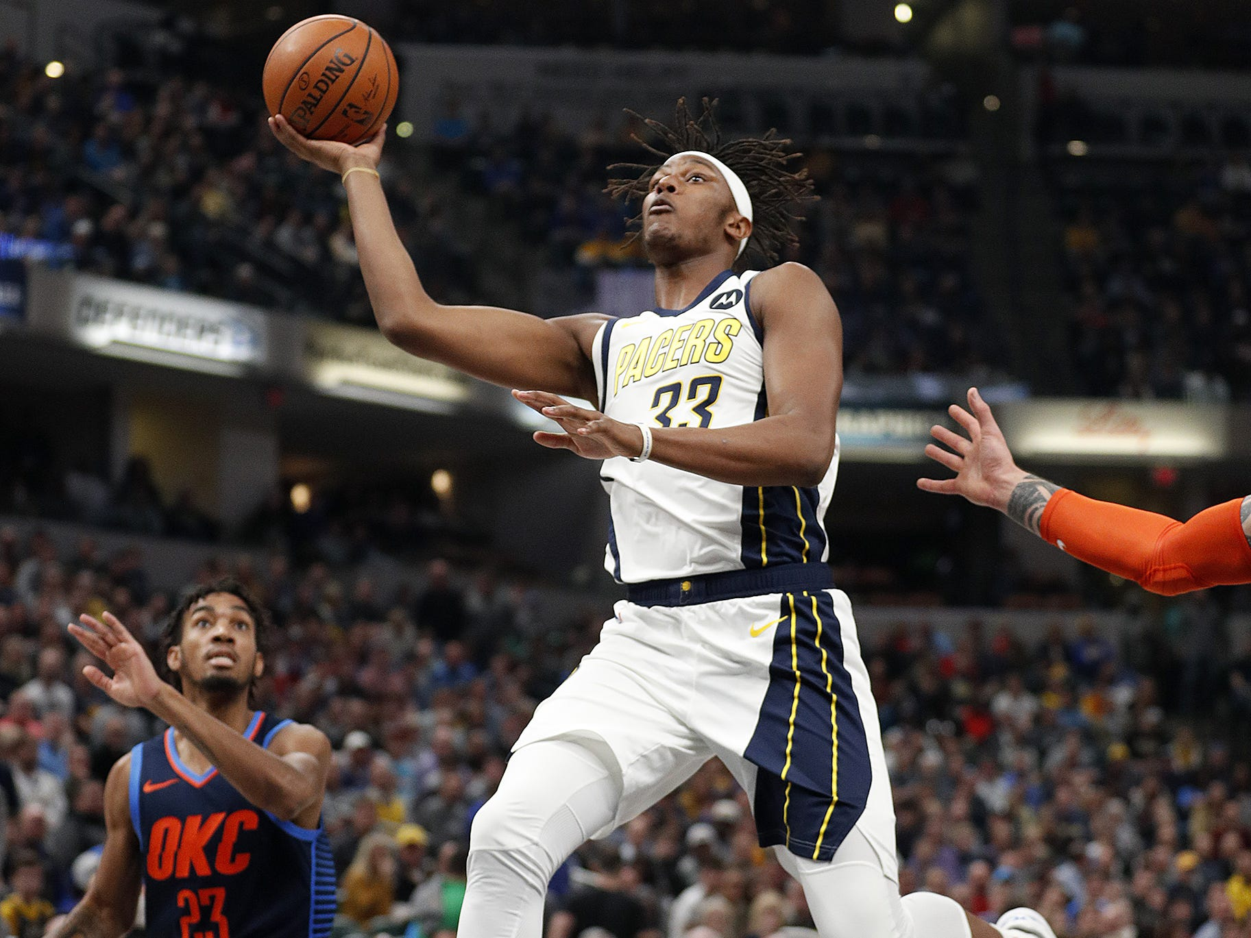 Indiana Pacers center Myles Turner (33) drives to the basket in the first half of their game at Bankers Life Fieldhouse on Thursday, Mar. 14, 2019.