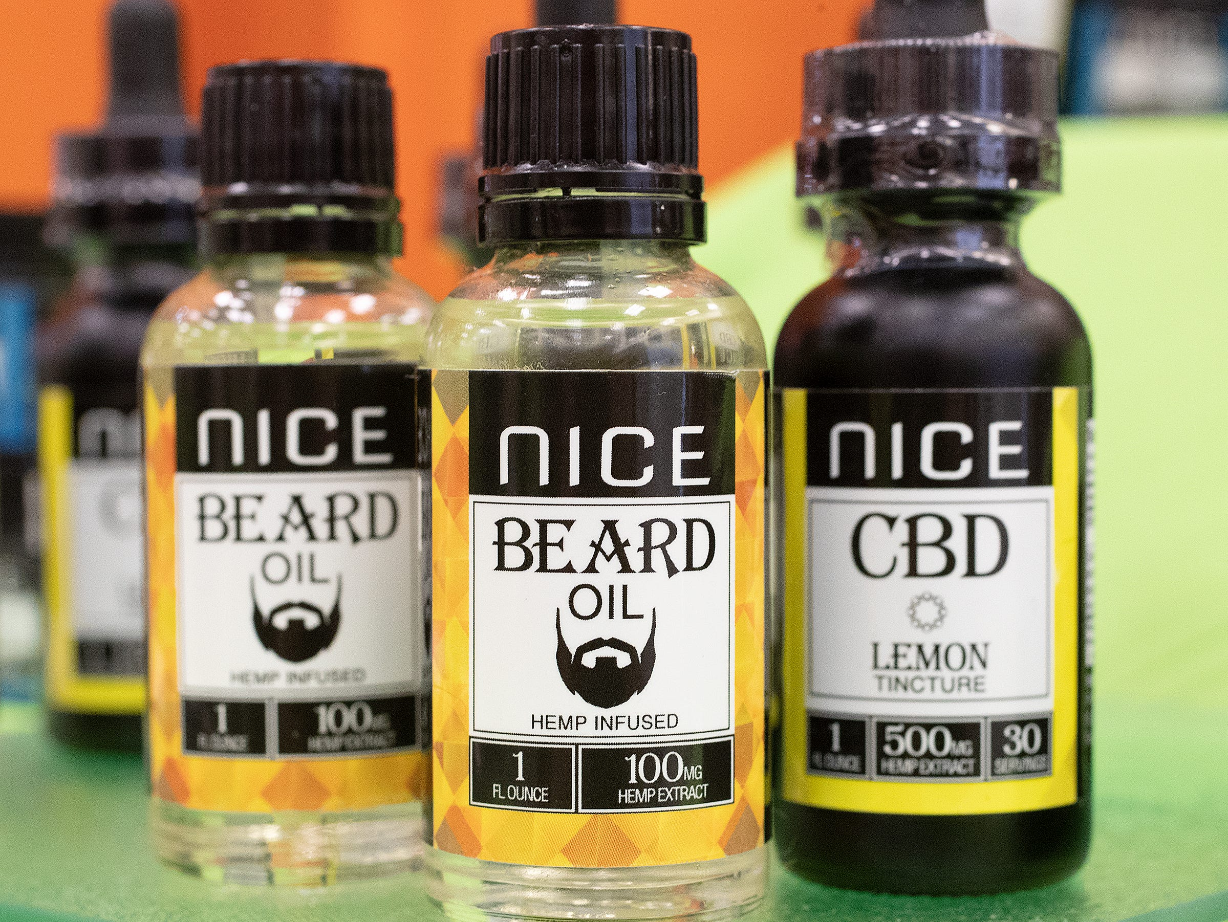 The Nice Corp Hemp Infused Beard Oil at the CBD Expo at the Marriott East in Indianapolis on Friday, Mar. 15, 2019.