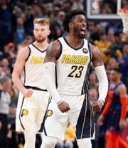 Indiana Pacers guard Wesley Matthews (23) celebrates his game-winning shot in the finals seconds of the fourth quarter of their game at Bankers Life Fieldhouse on Thursday, Mar. 14, 2019. The Pacers defeated the Thunder 108-106.