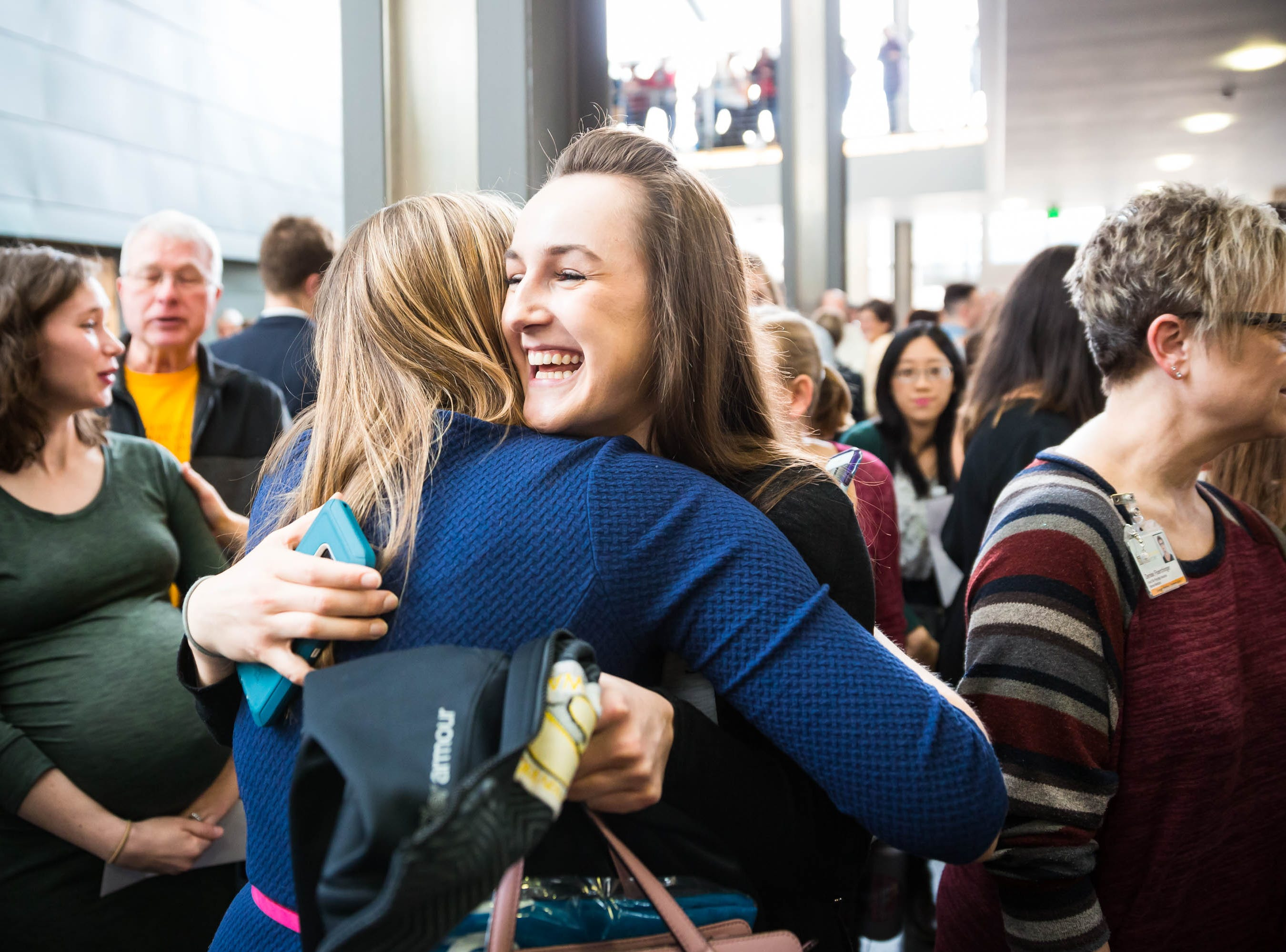 Applicants congratulate each other during Match Day at UIHC in Iowa City on Friday, March 15, 2019.