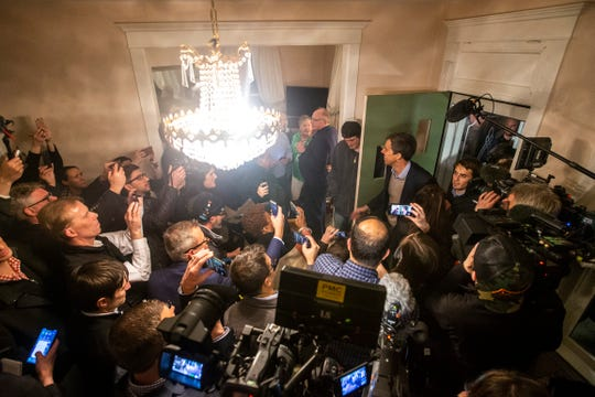Democratic presidential candidate Beto O'Rourke, of Texas, arrives before speaking to a crowd at the end of his first day in the state since announcing his run, Thursday, March 14, 2019, at a home in Muscatine, Iowa.