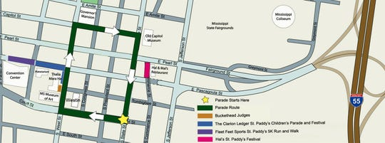 The 2019 Hal's St. Paddy's Day Parade route