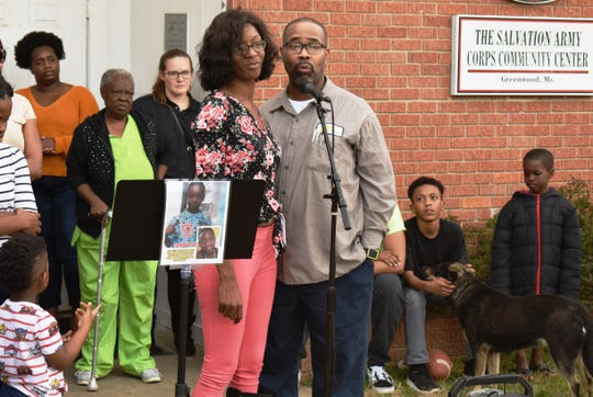 """Jordan Lloyd's parents, Jasmine Vance and Mark Fisher, attend a community service in Greenwood on Wednesday, March 13, 2019, honoring their son's life. """"Jordan is really going to be missed,"""" said Vance, as she stood among her family."""