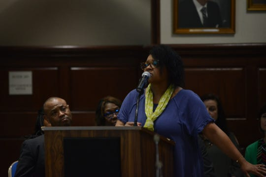 Tiffany Taylor, principal at North Parkway Middle School, said Superintendent Eric Jones's leadership has brought stronger curriculum and more support to the JMC school system during public comment at the JMC school board meeting at Jackson City Hall on Thursday night.