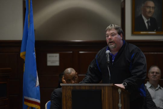 Tim Gilmer, principal at Thelma Barker Elementary School, thanked the school board for their service and praised Superintendent Eric Jones during public comment at the JMC school board meeting at Jackson City Hall on Thursday night.