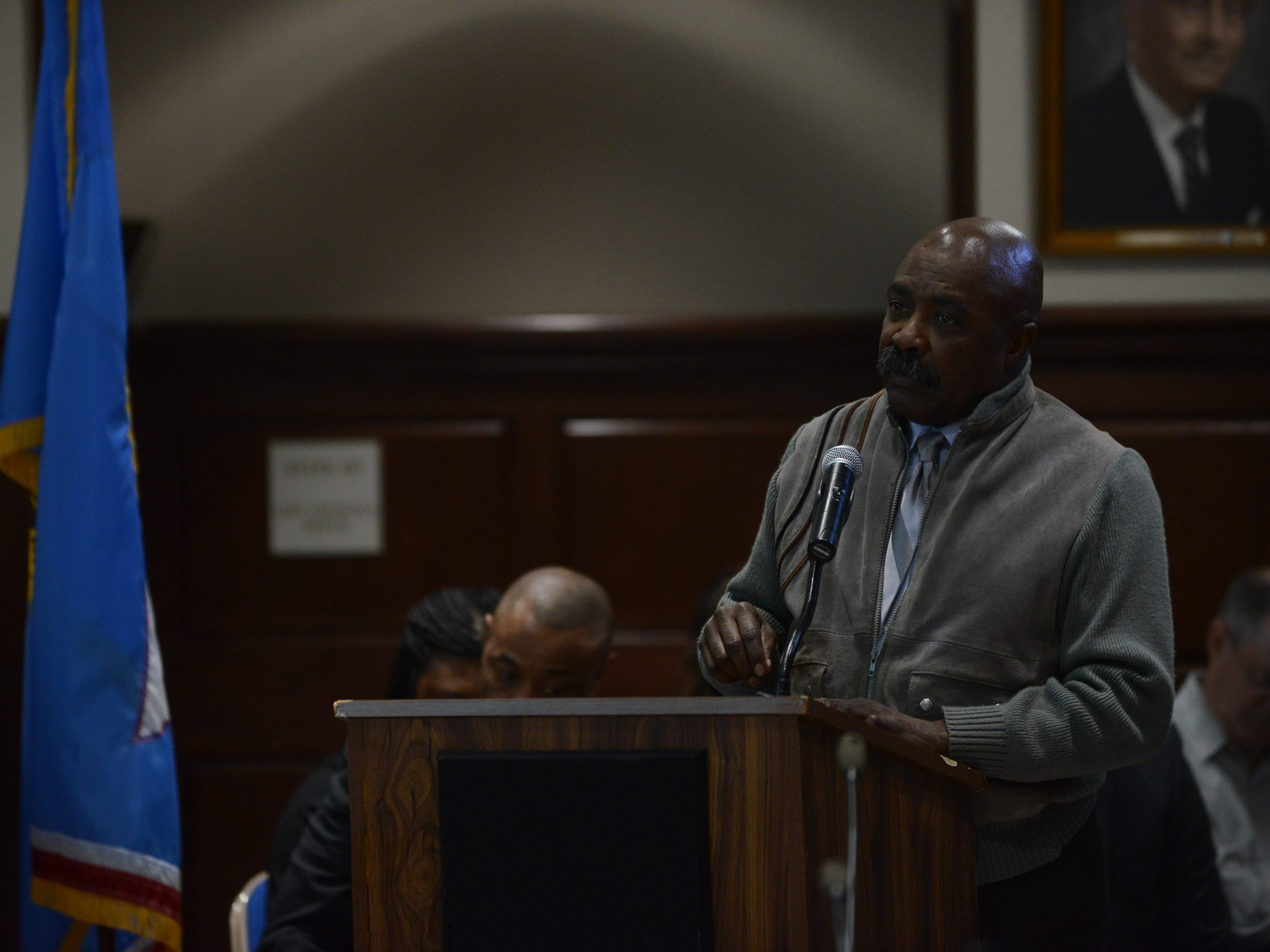 NAACP President Harrell Carter spoke about prioritizing funding during public comment at the JMC school board meeting at Jackson City Hall on Thursday night.