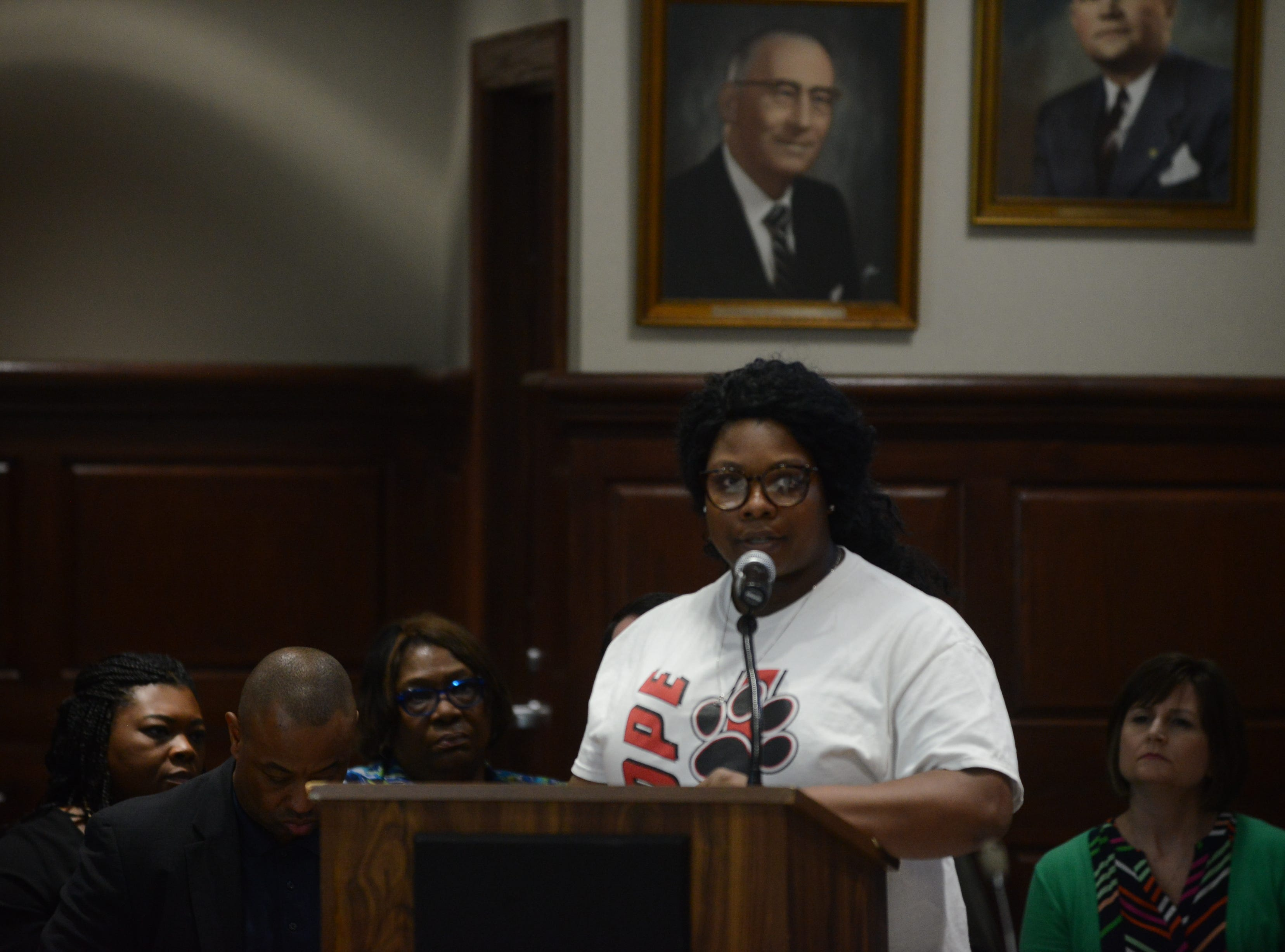 Nicole Harris, a parent of a Pope Elementary School student, said the school building could not handle the increasing number of students during public comment at the JMC school board meeting at Jackson City Hall on Thursday night.