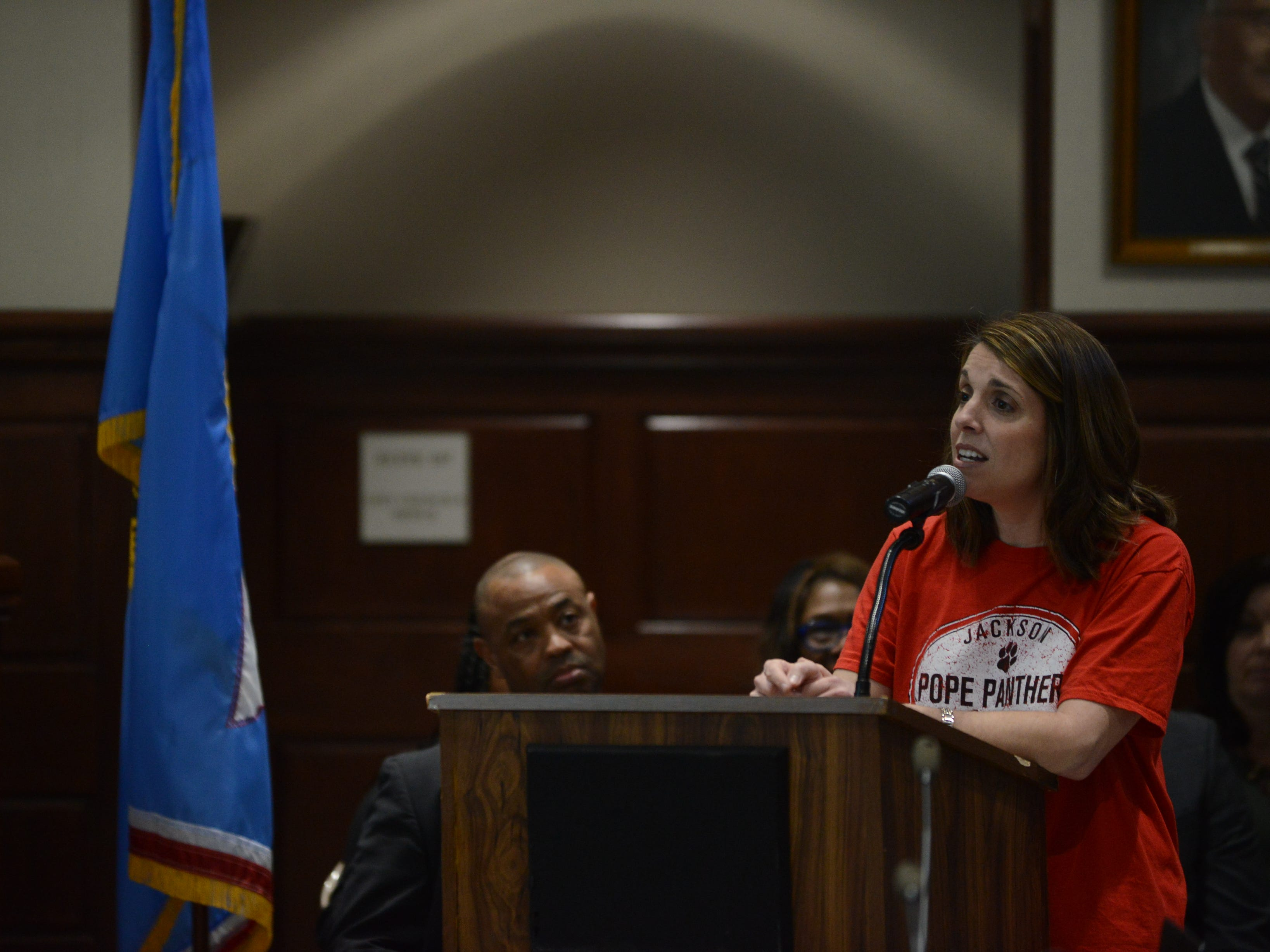 Ellen Neely, a parent of three students at Pope Elementary School, told Superintendent Eric Jones that people need him to keep fighting for them during public comment at the JMC school board meeting at Jackson City Hall on Thursday night.