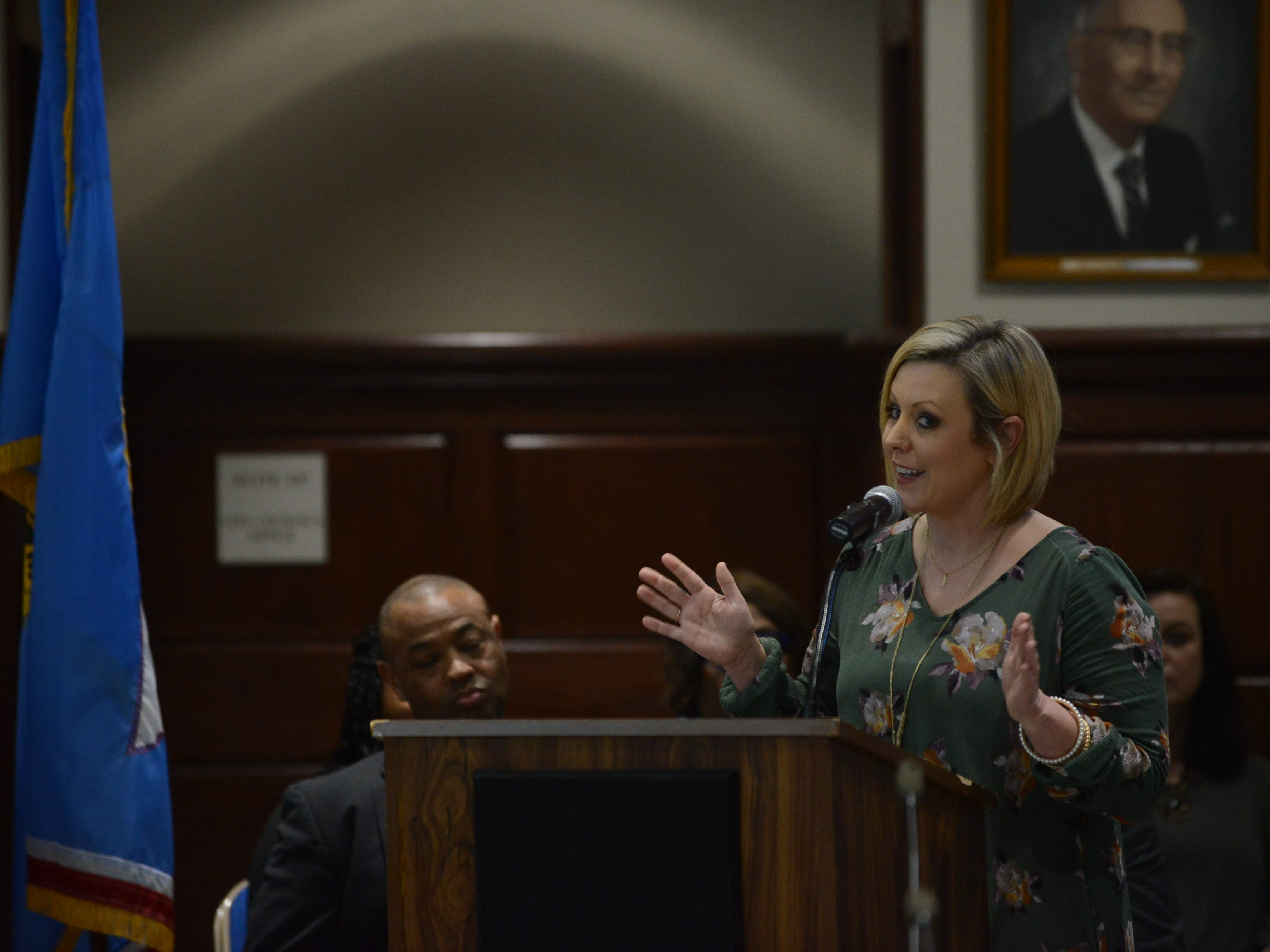 Beth Parnell, whose son goes to Pope Elementary School, explained how not everyone has to agree on every aspect of a plan for it to work, comparing the school board's plan to the learning plan created for her autistic son during public comment at the JMC school board meeting at Jackson City Hall on Thursday night.