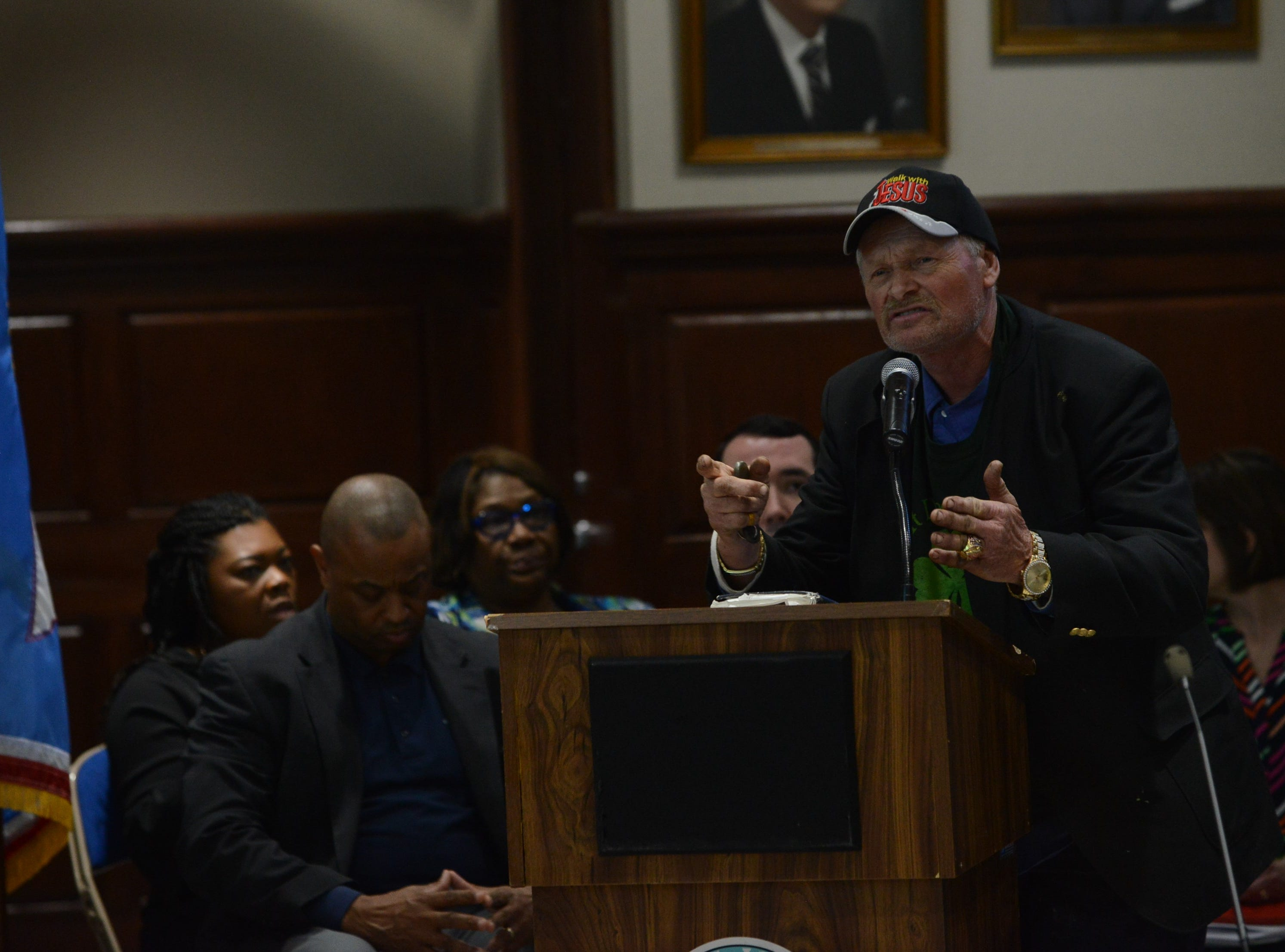 "Mark Spain, a self-described ""concerned citizen,"" spoke in support of Superintendent Eric Jones during public comment at the JMC school board meeting at Jackson City Hall on Thursday night."