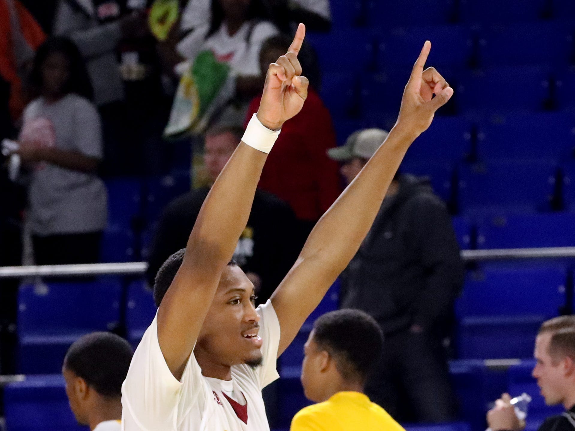 Humboldt's Anthony Jones (45) celebrates the 65-53 win over Fayetteville in the quarterfinal round of the TSSAA Class A Boys State Tournament, on Thursday, March 14, 2019, at Murphy Center in Murfreesboro, Tenn.