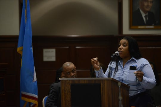 Janelle Baker, whose daughter attends school in JMCSS, asked the board to budget more for arts and field trips to reduce student stress during public comment at the JMC school board meeting at Jackson City Hall on Thursday night.