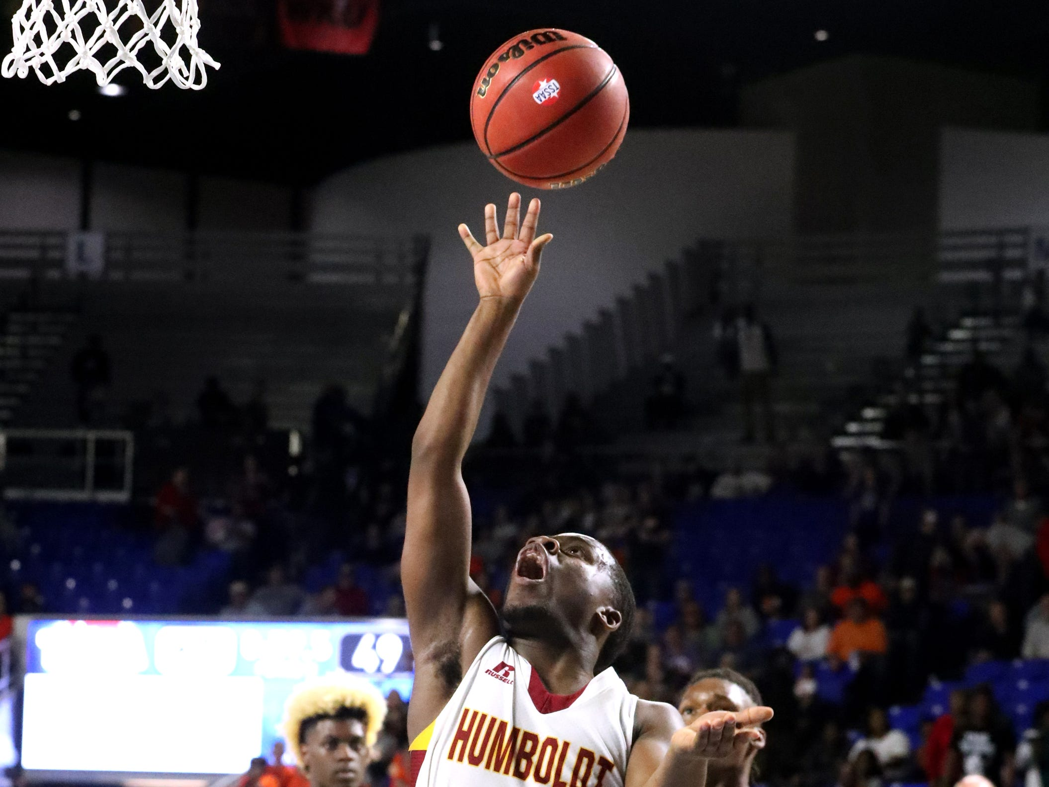 Humboldt's Montrez Ward (5) shoots the ball during the quarterfinal round of the TSSAA Class A Boys State Tournament against Fayetteville, on Thursday, March 14, 2019, at Murphy Center in Murfreesboro, Tenn.