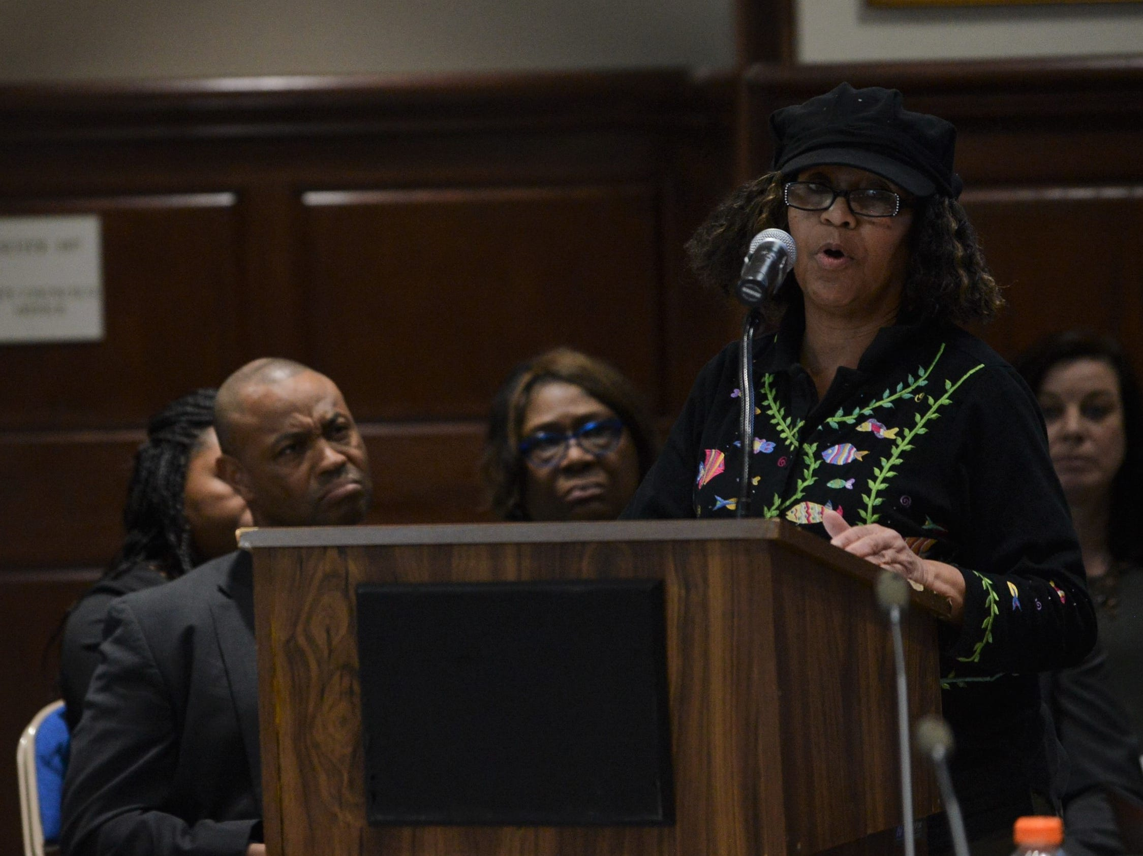 Sheila Godwin, a candidate for City Council District 3, calls for respect for board member Morris Merriweather during public comment at the JMC school board meeting at Jackson City Hall on Thursday night.