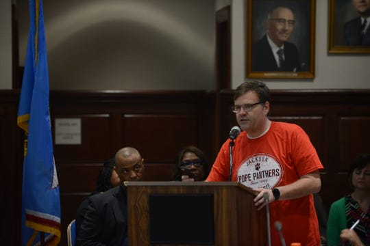 Rick Smith, a parent of three JMCSS students, said people would vote with their pocketbooks if the board did not approve the Ashport Land option during public comment at the JMC school board meeting at Jackson City Hall on Thursday night.