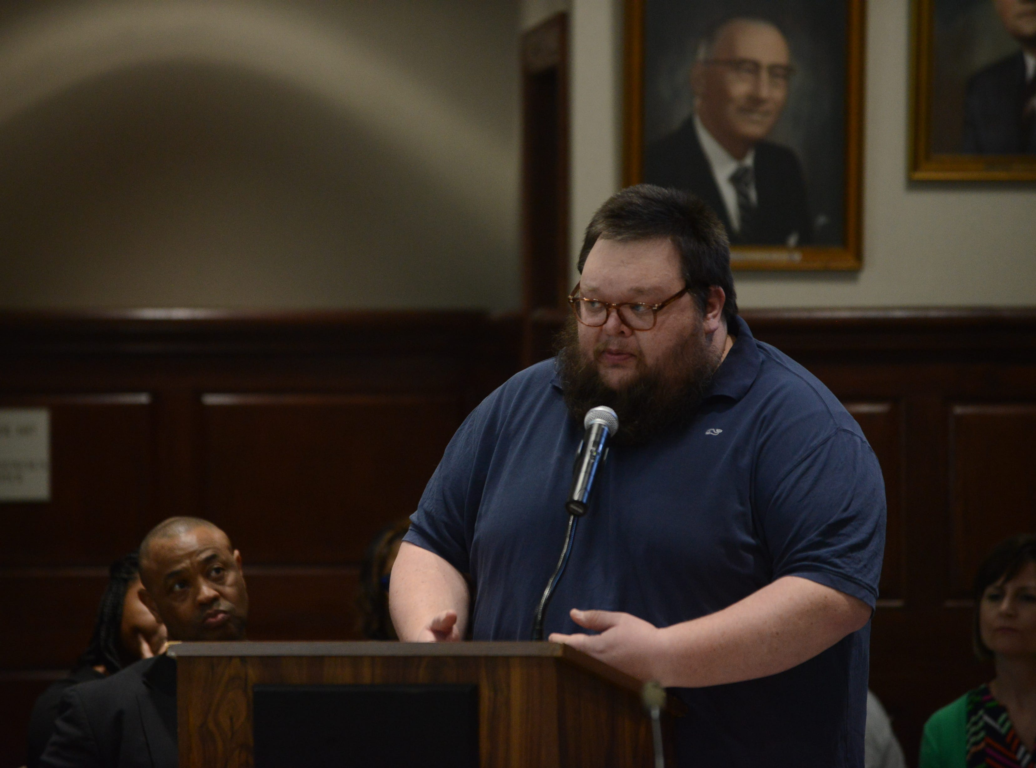 "David Wicker, principal at West Bemis Middle School, said he was ""extremely privileged"" to work for Superintendent Eric Jones during public comment at the JMC school board meeting at Jackson City Hall on Thursday night."