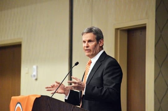 Tennessee Gov. Bill Lee speaks to the Knoxville Chamber during the Governor's Breakfast on Friday, March 15, 2019.