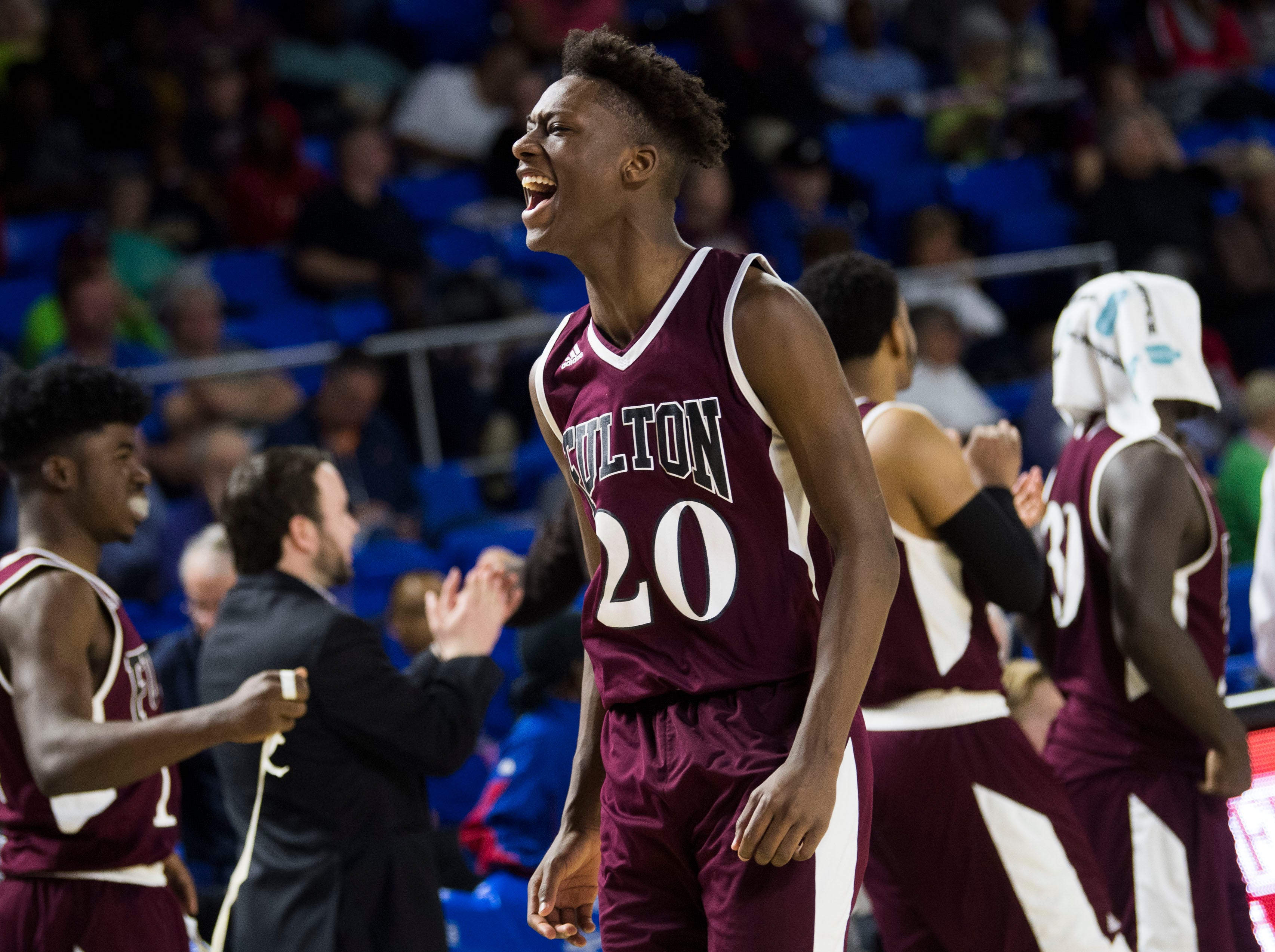 Fulton's Domenic Holland (20) after a TSSAA AA state semifinal game between East Nashville and Fulton at the Murphy Center in Murfreesboro, Friday, March 15, 2019. Fulton defeated East Nashville 66-55.