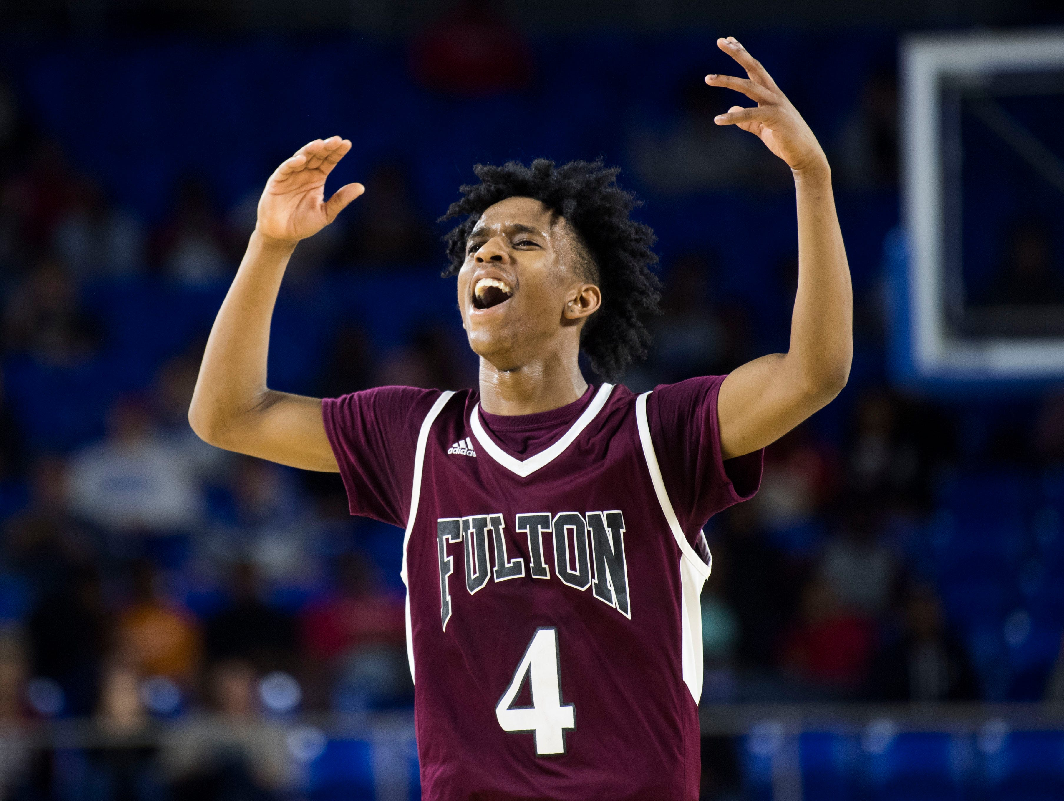 Fulton's Edward Lacy (4) reacts during a TSSAA AA state semifinal game between East Nashville and Fulton at the Murphy Center in Murfreesboro, Friday, March 15, 2019. Fulton defeated East Nashville 66-55.