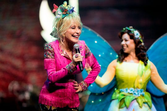 Dolly Parton welcomes visitors to Dollywood in Pigeon Forge, Tennessee on Friday, March 15, 2019. Parton was visiting the park to kick off the 2019 season and give updates on the Wildwood Grove expansion.