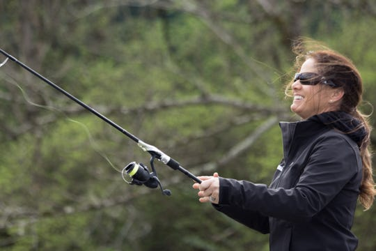 Tennessee first lady Maria Lee fishes on the Tennessee River during a trip to support the Bassmaster Classic in Knoxville on Friday, March 15, 2019.