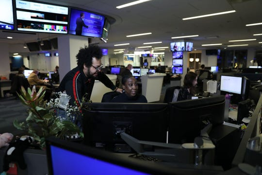 WABC-TV in New York City supports balance at work. Here TV newswriter and producer Nika Beamon, in recovery from a rare autoimmune disease, works with editor Sixto Reynoso on the next newscast. Writer/producer Alicia Esteban is on the right.