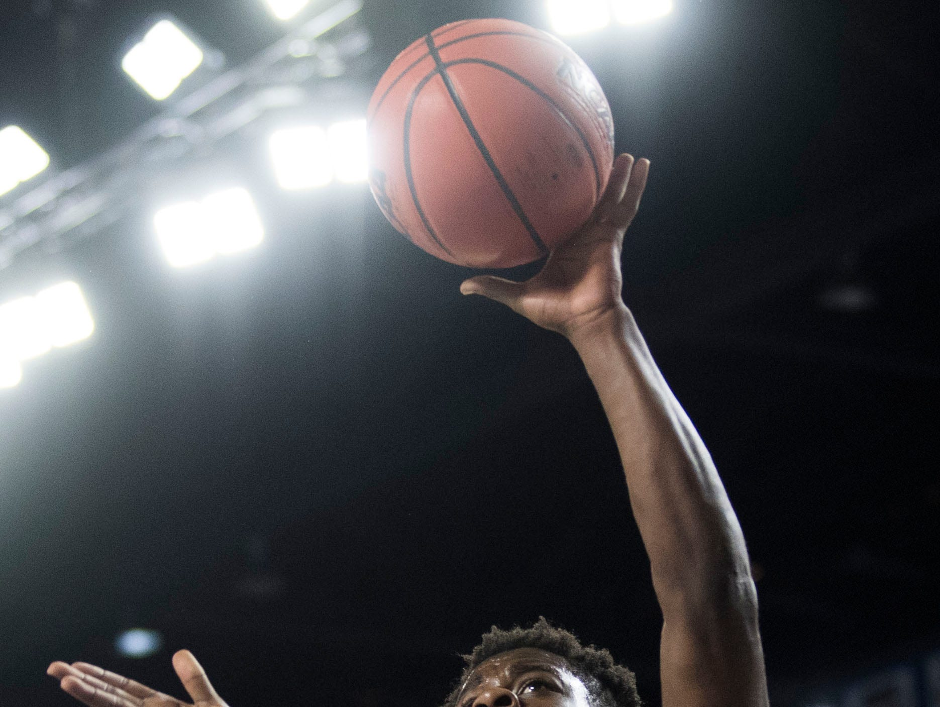 Fulton's Deshaun Page (32) takes a shot during a TSSAA AA state semifinal game between East Nashville and Fulton at the Murphy Center in Murfreesboro, Friday, March 15, 2019. Fulton defeated East Nashville 66-55.