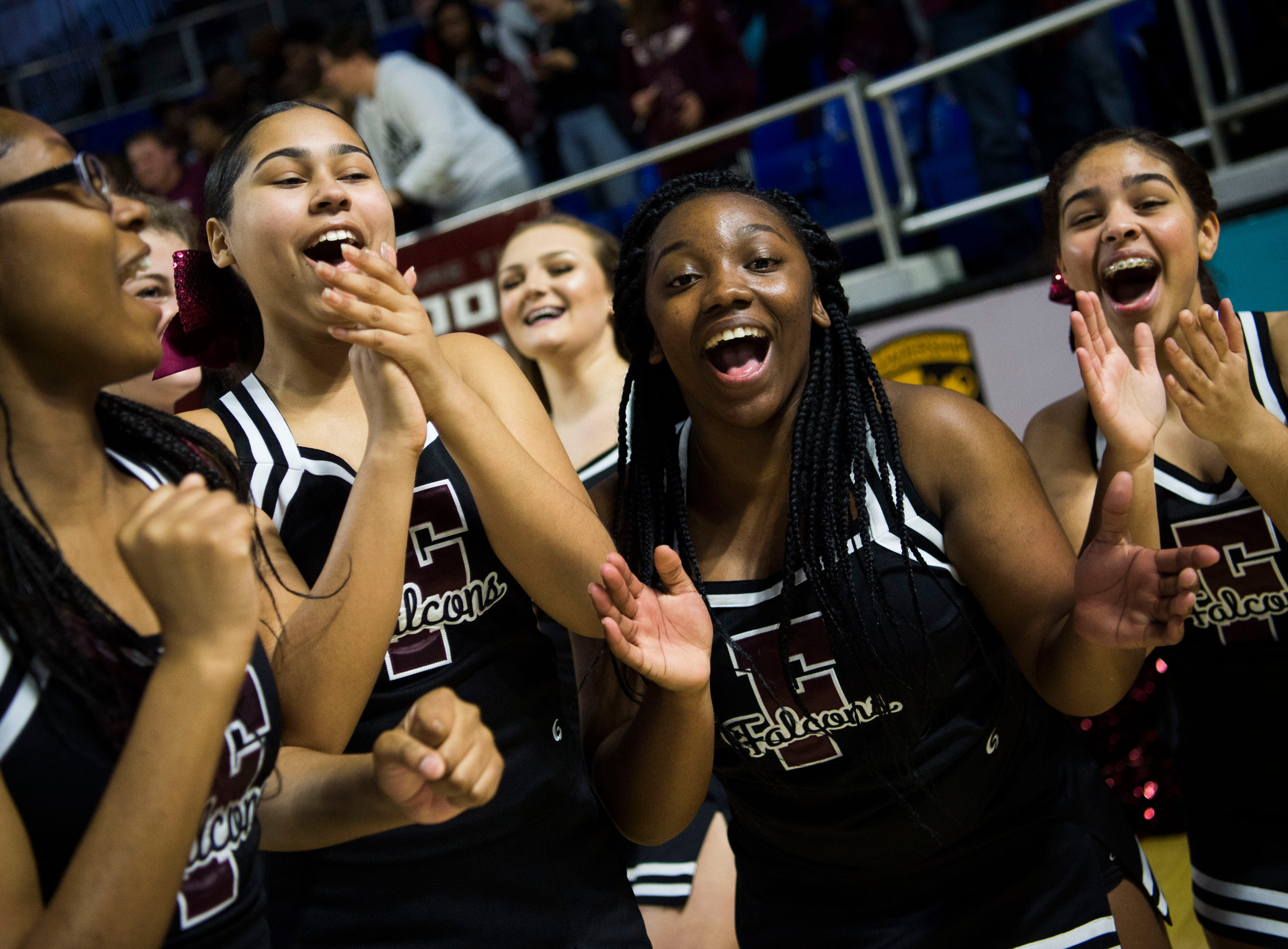 Fulton cheerleaders celebrate after a TSSAA AA state semifinal game between East Nashville and Fulton at the Murphy Center in Murfreesboro, Friday, March 15, 2019. Fulton defeated East Nashville 66-55.