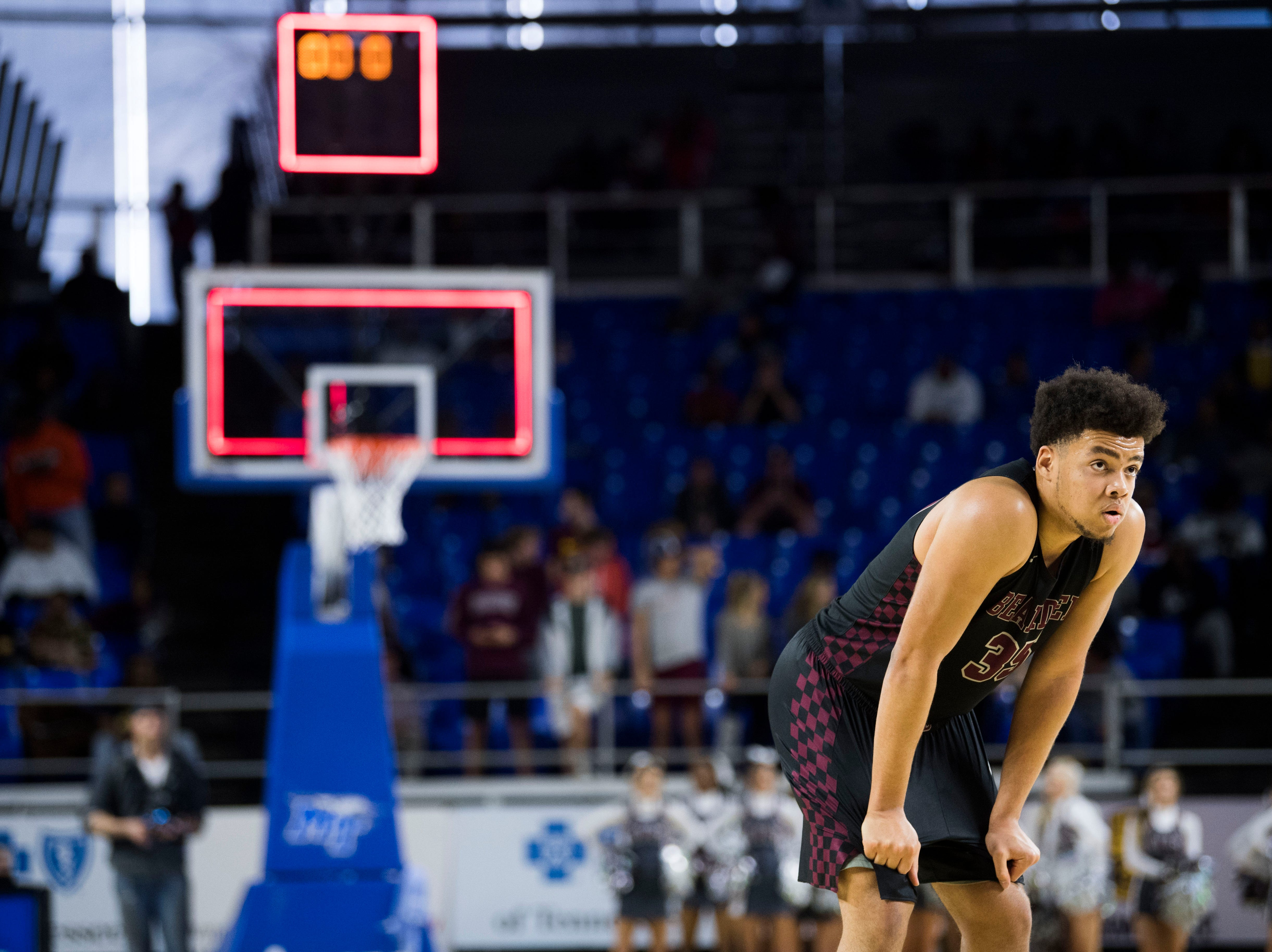 Bearden's Shamarcus Brown (35) prepares to take a foul shot during a TSSAA AAA state semifinal game between Whitehaven and Bearden at the Murphy Center in Murfreesboro, Friday, March 15, 2019.