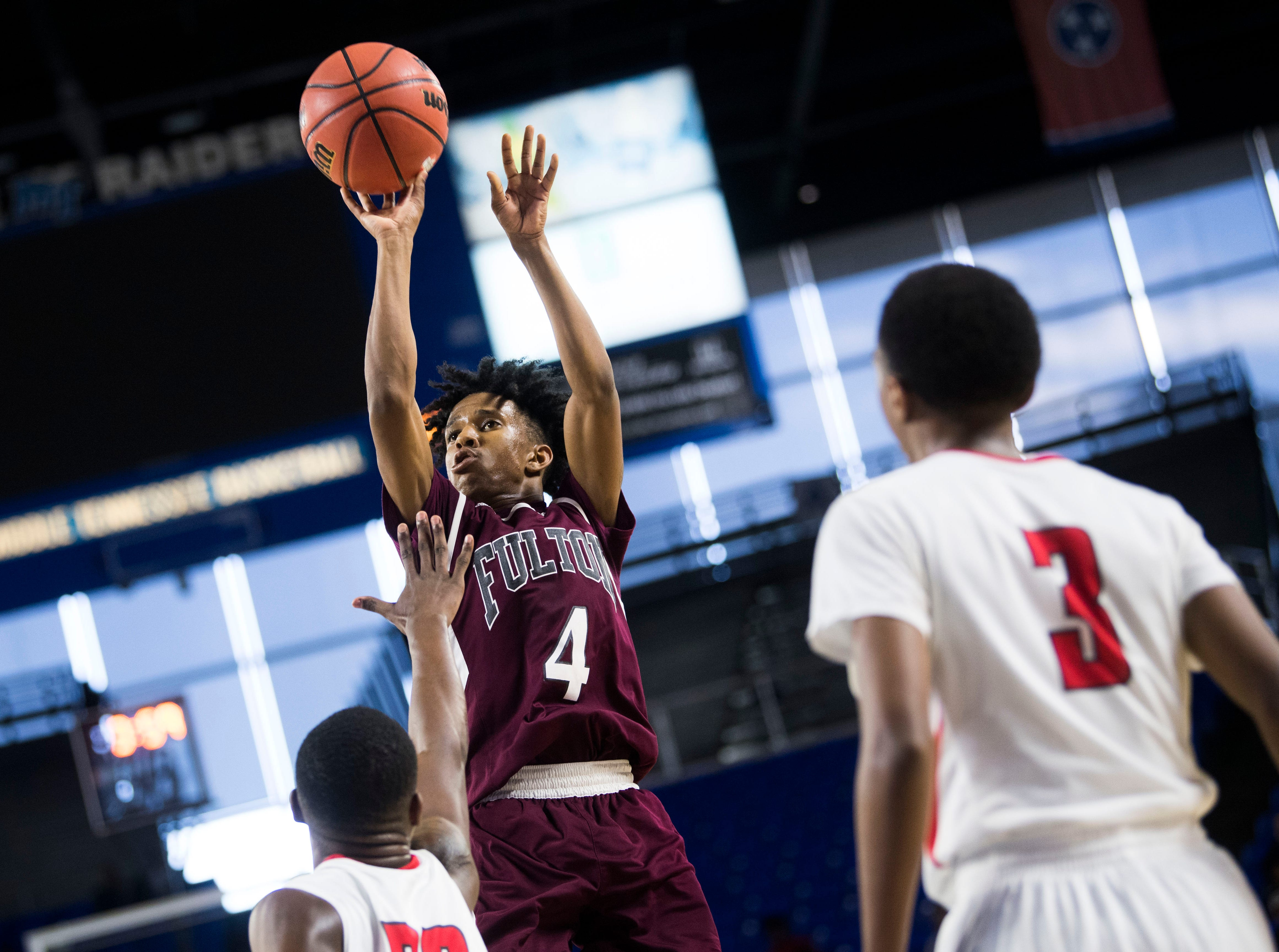 Fulton's Edward Lacy (4) takes a shot during a TSSAA AA state semifinal game between East Nashville and Fulton at the Murphy Center in Murfreesboro, Friday, March 15, 2019. Fulton defeated East Nashville 66-55.