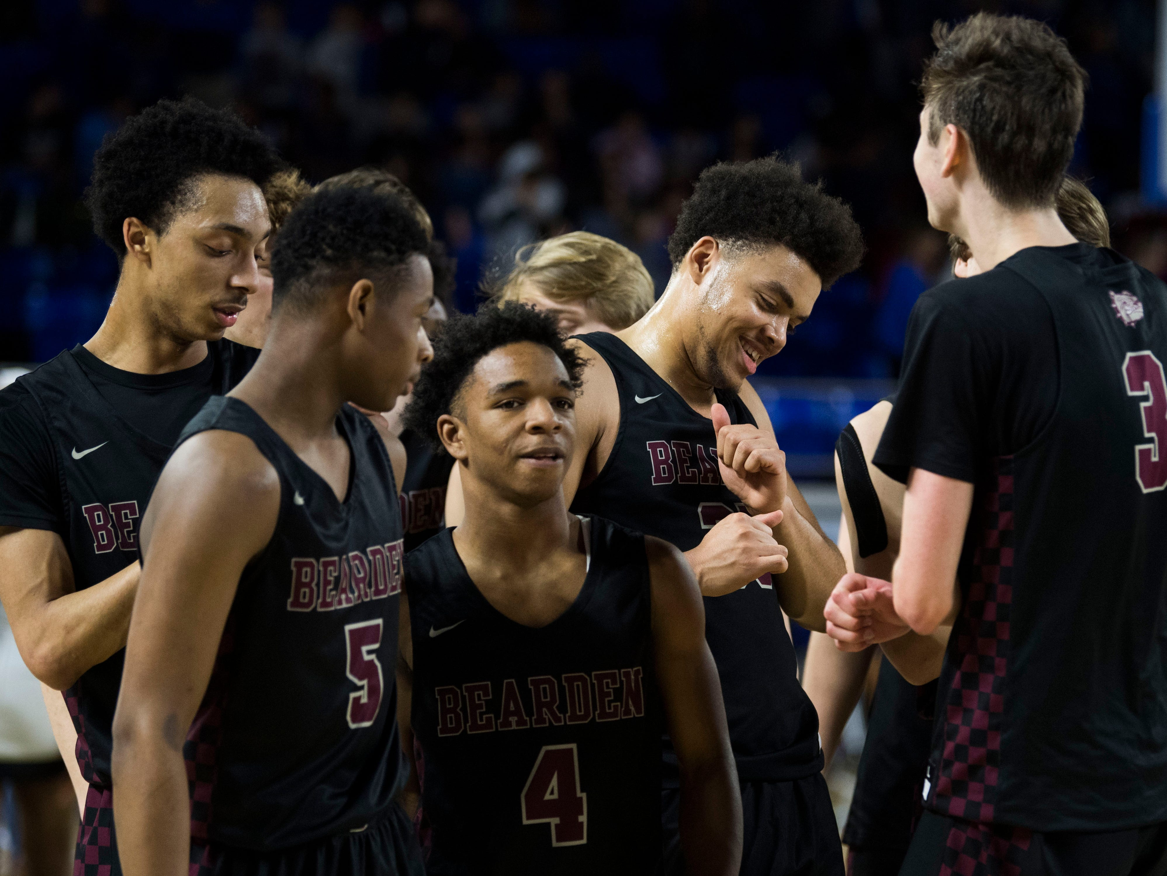 Bearden celebrates after a TSSAA AAA state semifinal game between Whitehaven and Bearden at the Murphy Center in Murfreesboro, Friday, March 15, 2019. Bearden defeated Whitehaven 76-60.