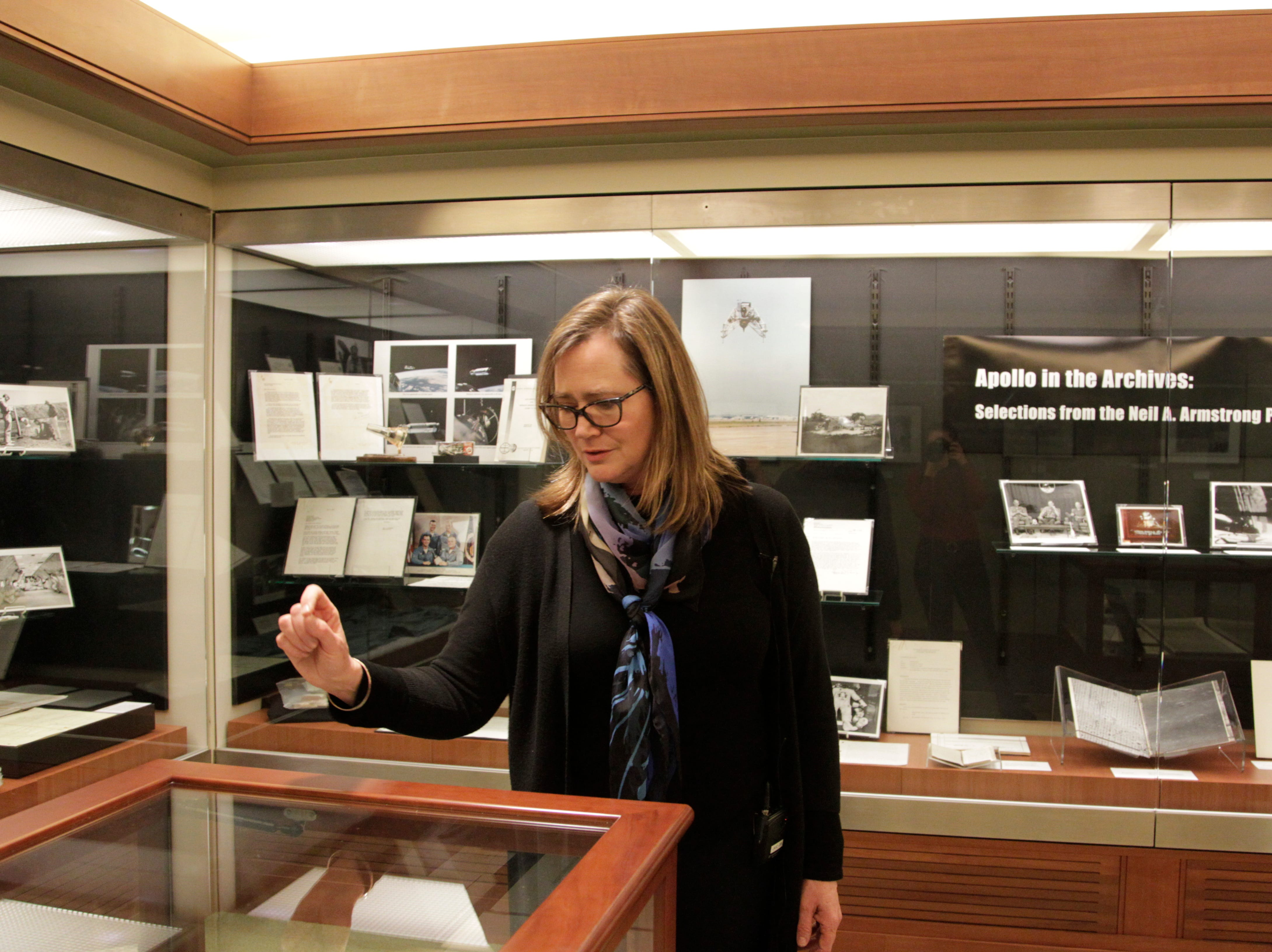 Tracy Grimm, associate head of Purdue's Archives and Special Collections, selected items from Neil Armstrong's personal collection.