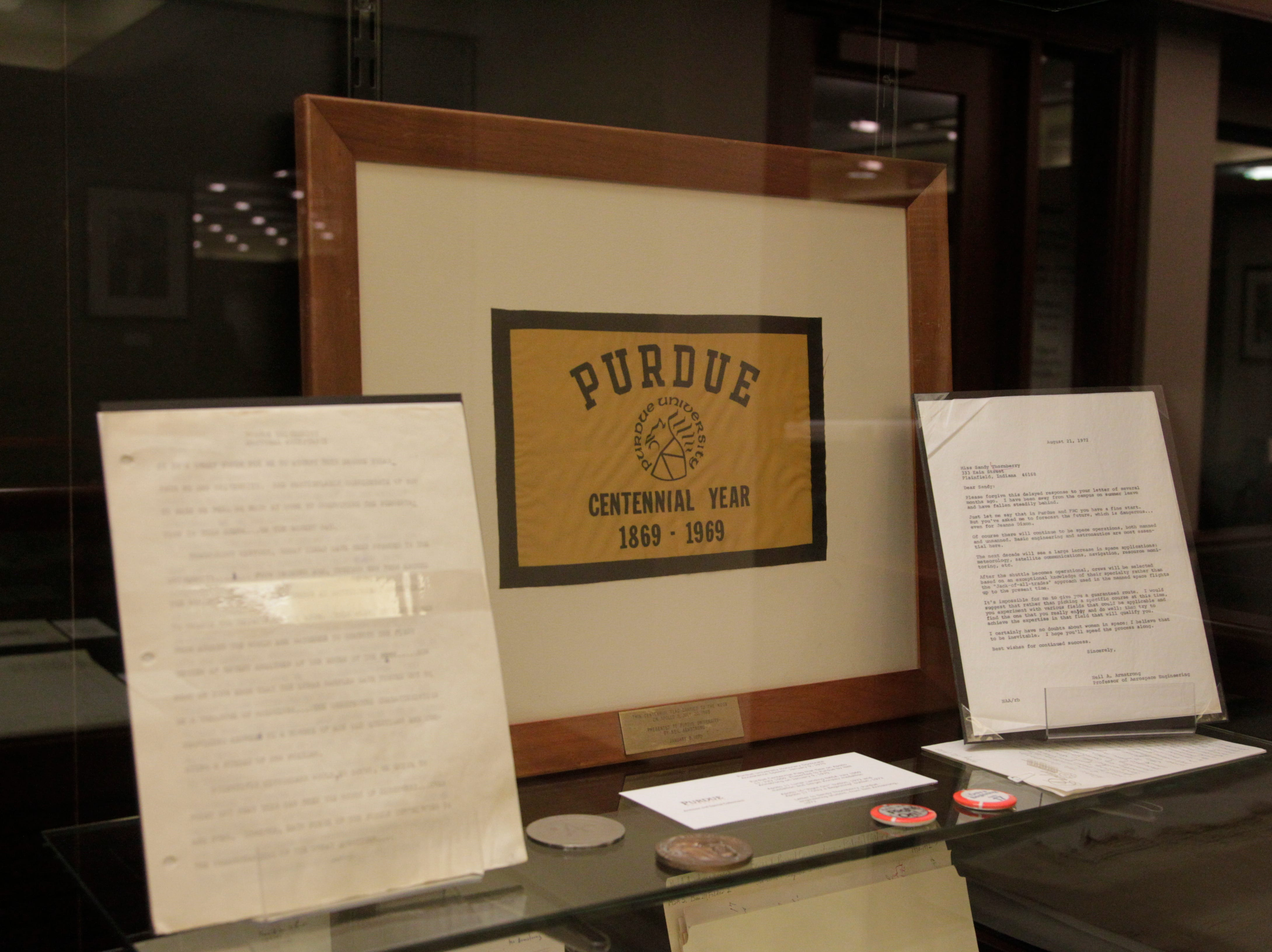 One of two Purdue Centennial flags Neil Armstrong took with him on the Apollo 11 mission to the moon in July 1969 sold for $42,000 as part of an auction.