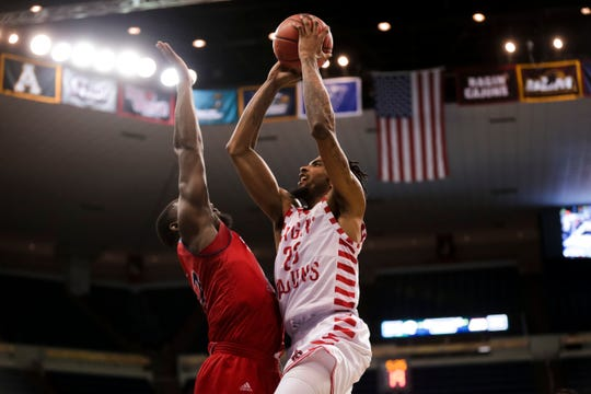 UL's JaKeenan Gant goes up for a basket against South Alabama during the Sun Belt Tournament in March. Gant has worked out for at least four teams prior to the 2019 NBA Draft.