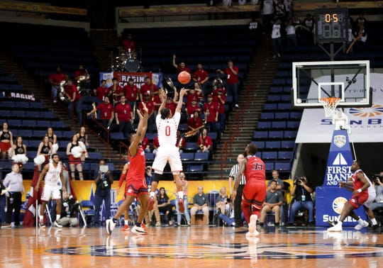 A last-second trey try by UL's Cedric Russell missed the mark in Thursday's 70-69 Sun Belt Tournament loss to South Alabama.
