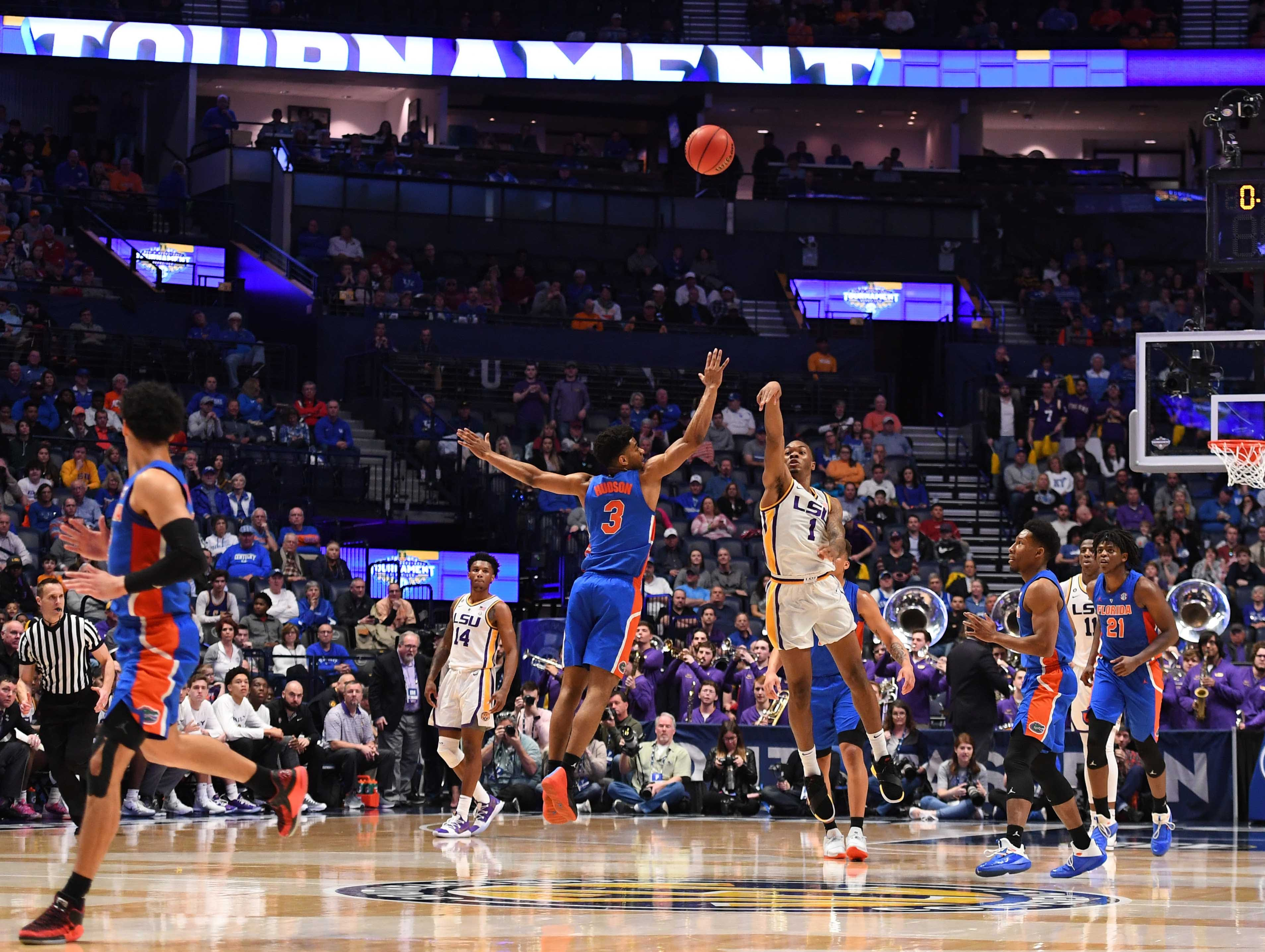 Mar 15, 2019; Nashville, TN, USA; LSU Tigers guard Javonte Smart (1) misses a shot at the end of the half against the Florida Gators in the SEC conference tournament at Bridgestone Arena. Mandatory Credit: Christopher Hanewinckel-USA TODAY Sports