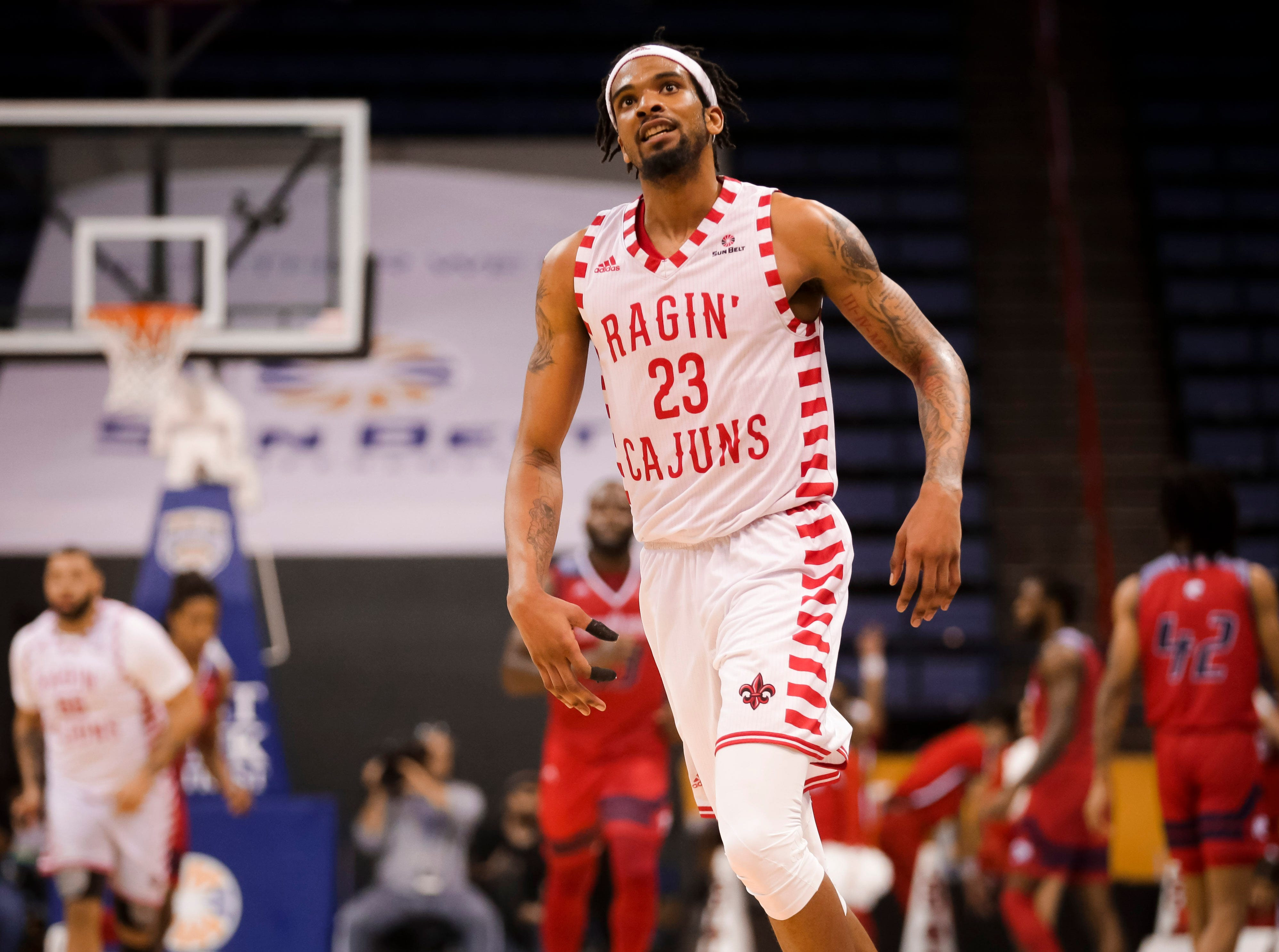 UL senior JaKeenan Gant is shown Thursday, as the Ragin' Cajuns fell to South Alabama, 70-69, at the Sun Belt Men's Basketball Championship in New Orleans.