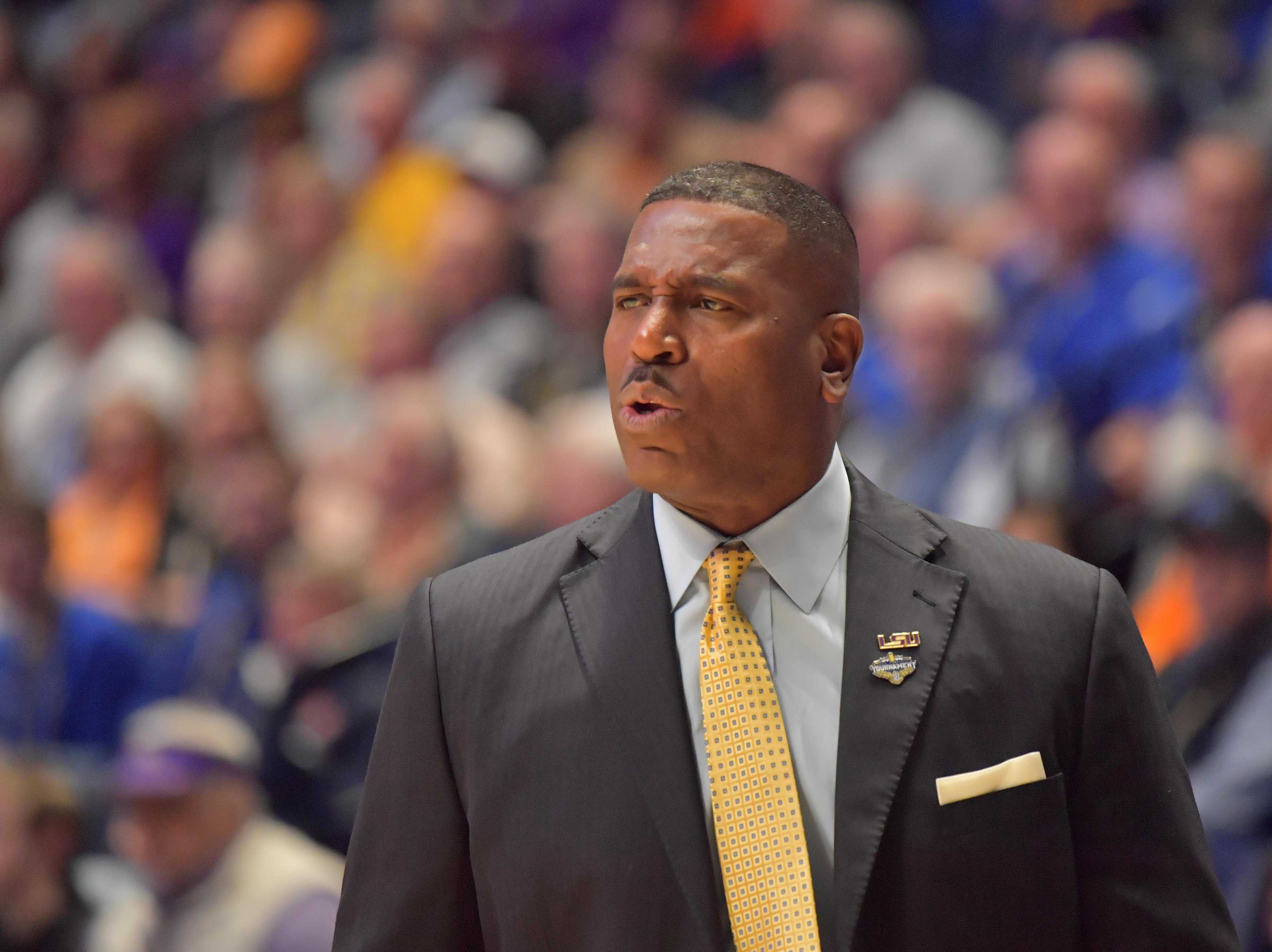 Mar 15, 2019; Nashville, TN, USA; LSU Tigers interim head coach Tony Benford during the first half of game seven against the Florida Gators in the SEC conference tournament at Bridgestone Arena. Mandatory Credit: Jim Brown-USA TODAY Sports