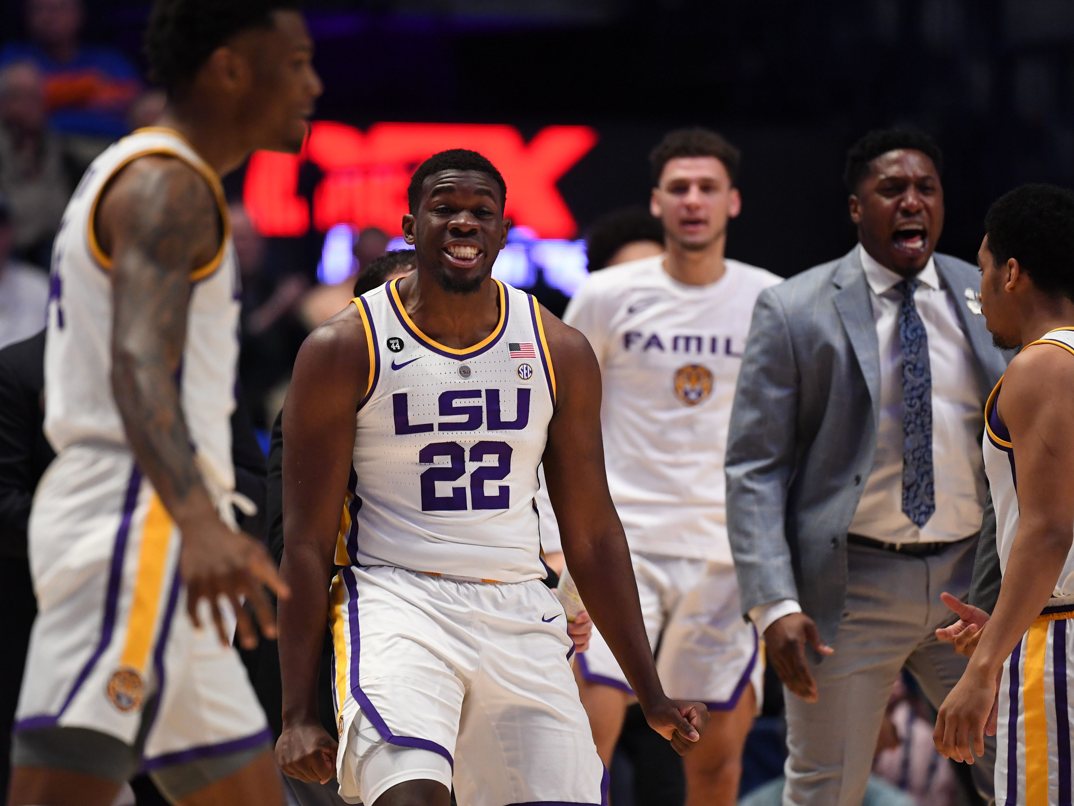 Mar 15, 2019; Nashville, TN, USA; LSU Tigers forward Darius Days (22) reacts against the Florida Gators during the first half of the SEC conference tournament at Bridgestone Arena. Mandatory Credit: Christopher Hanewinckel-USA TODAY Sports