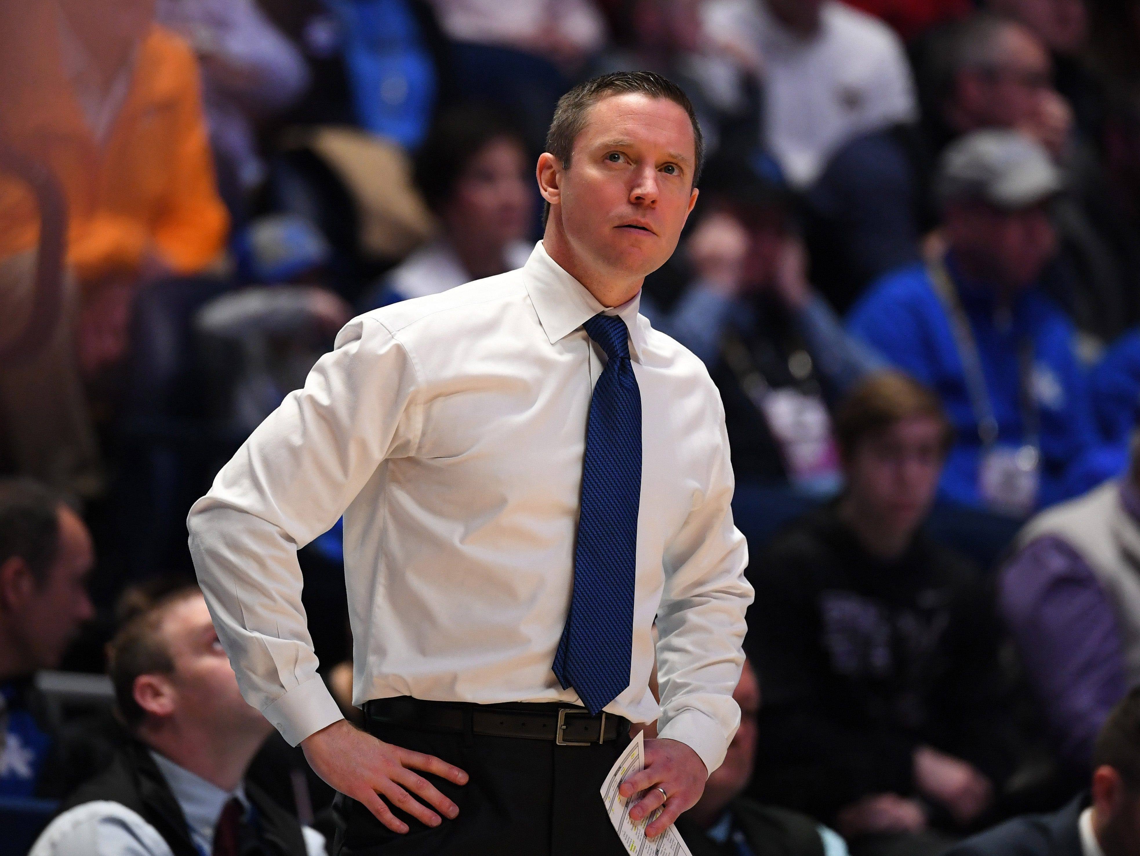 Mar 15, 2019; Nashville, TN, USA; Florida Gators head coach Mike White looks on from the sidelines against the LSU Tigers during the first half  of the SEC conference tournament at Bridgestone Arena. Mandatory Credit: Christopher Hanewinckel-USA TODAY Sports